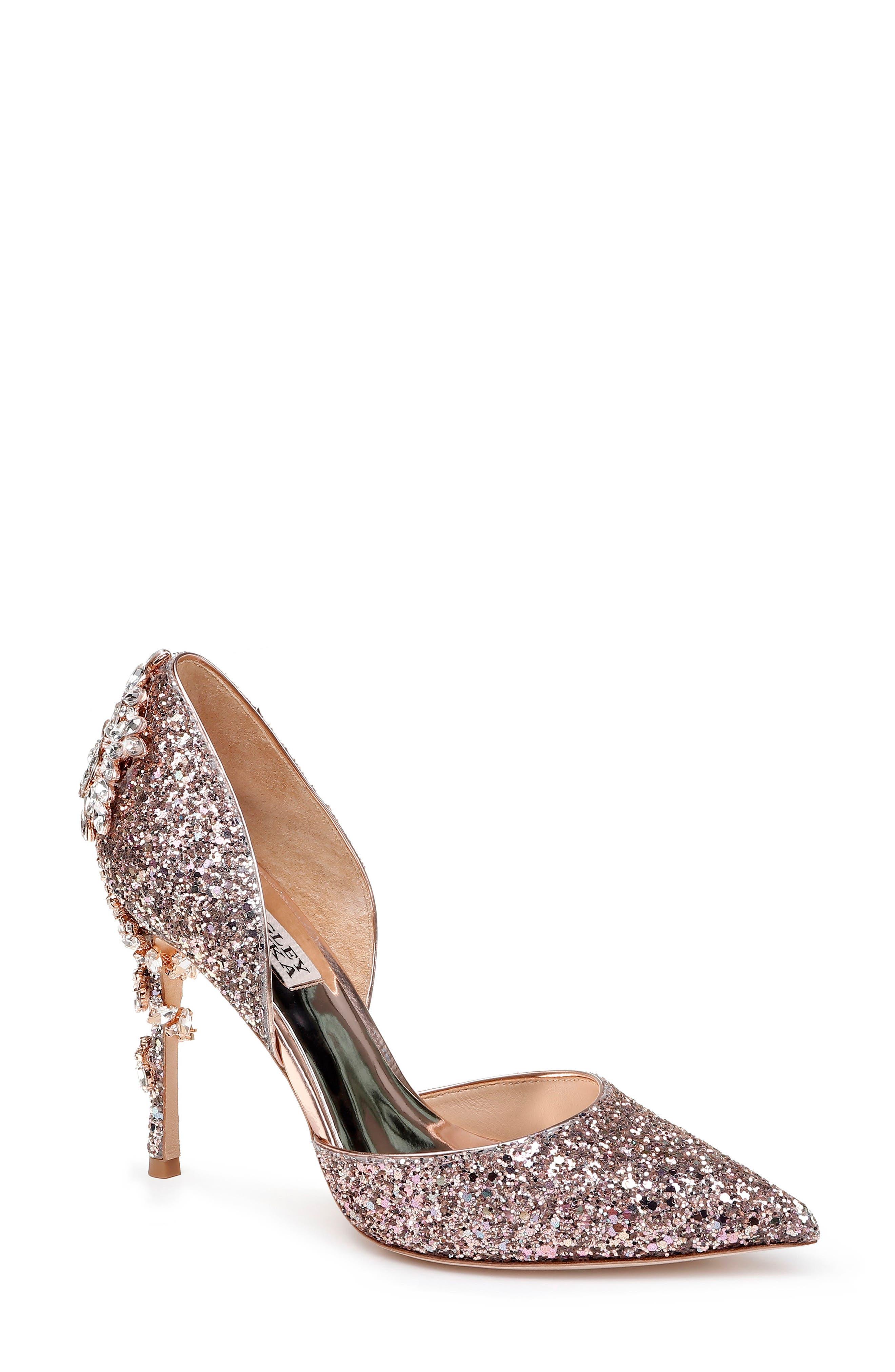 BADGLEY MISCHKA Vogue Iii Glitter Pumps in Rose Gold Glitter