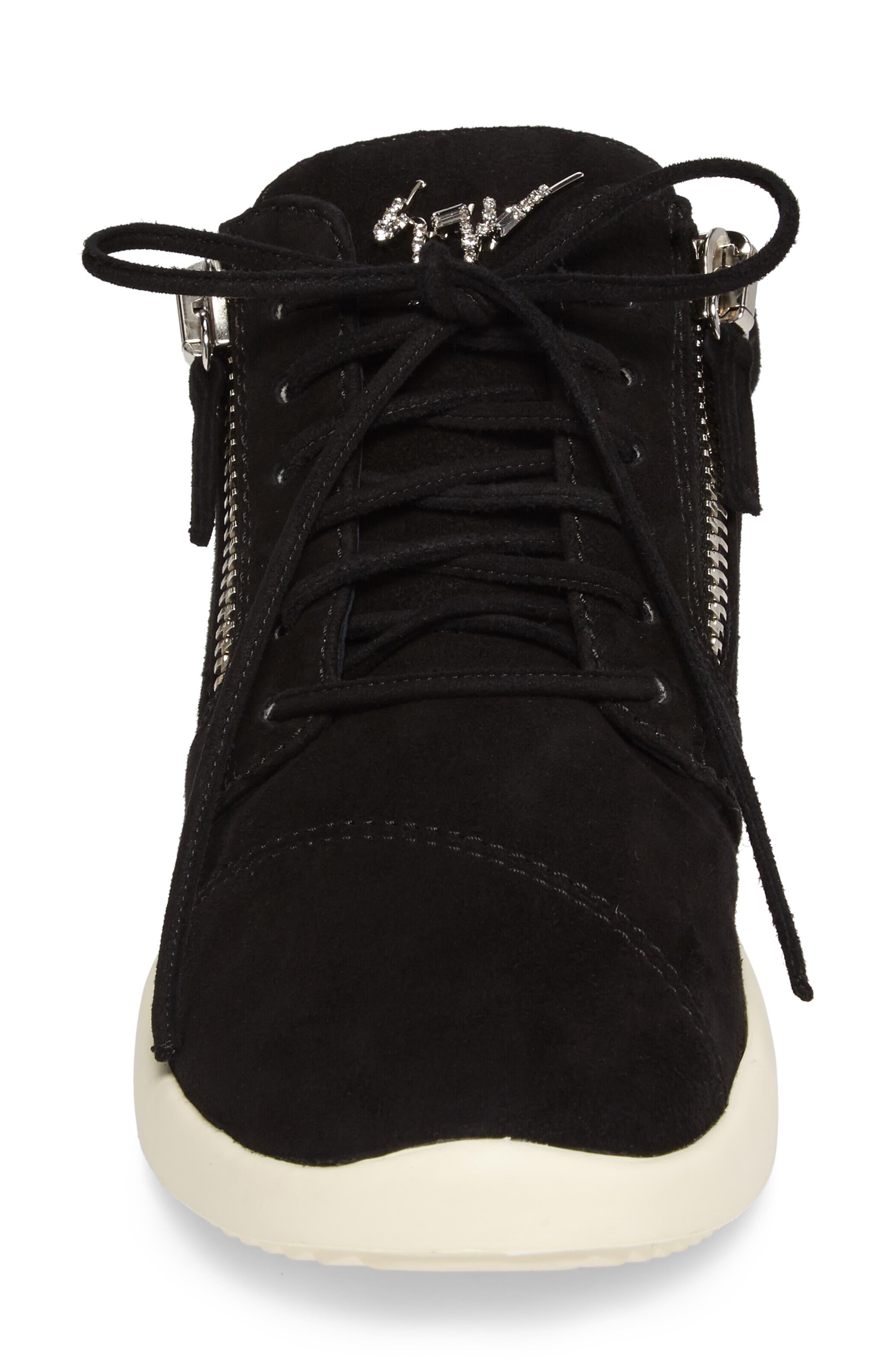 Zip Mid-Top Sneaker,                             Alternate thumbnail 4, color,                             001