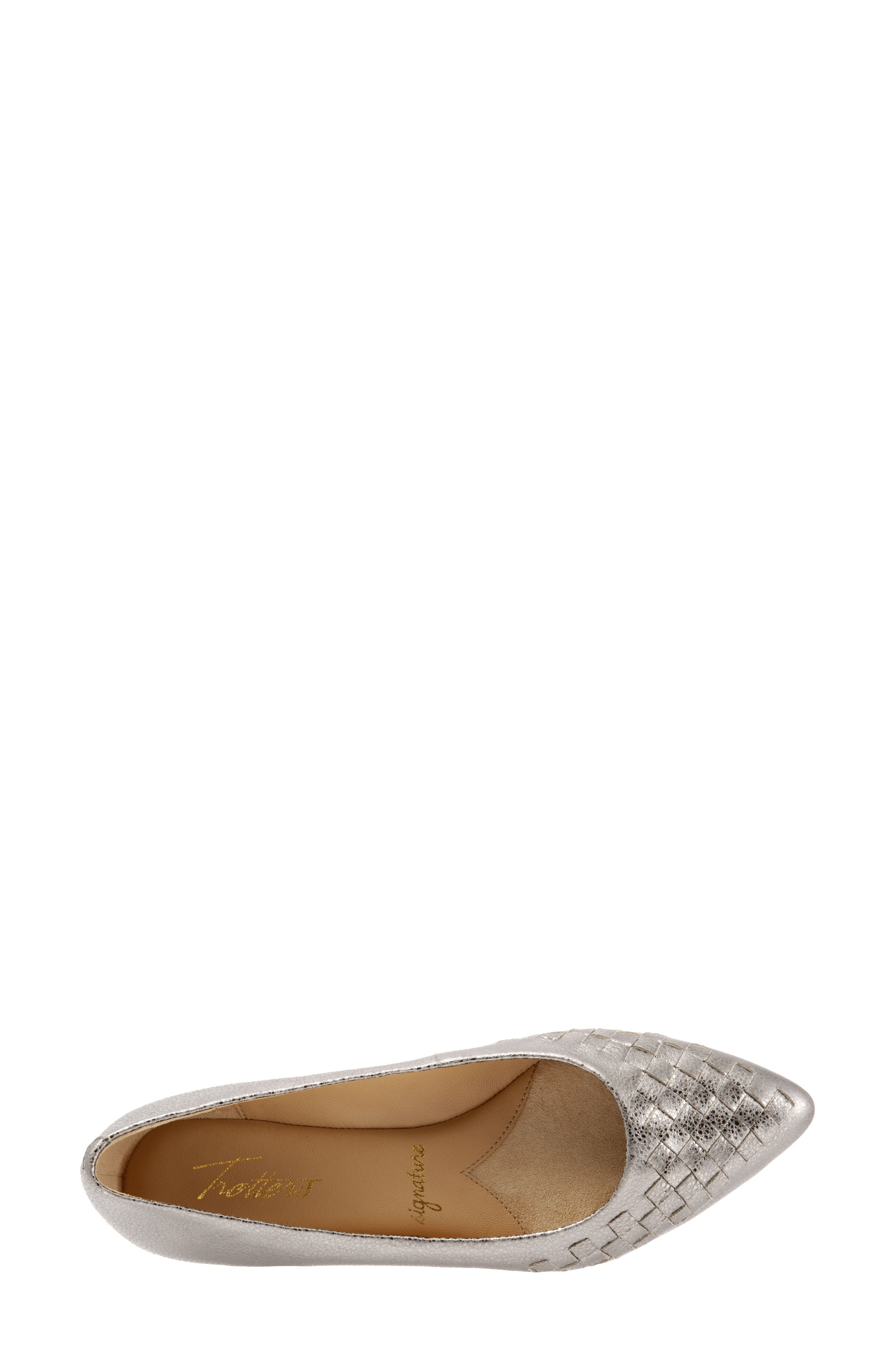 Estee Pointed Toe Flat,                             Alternate thumbnail 5, color,                             SILVER LEATHER