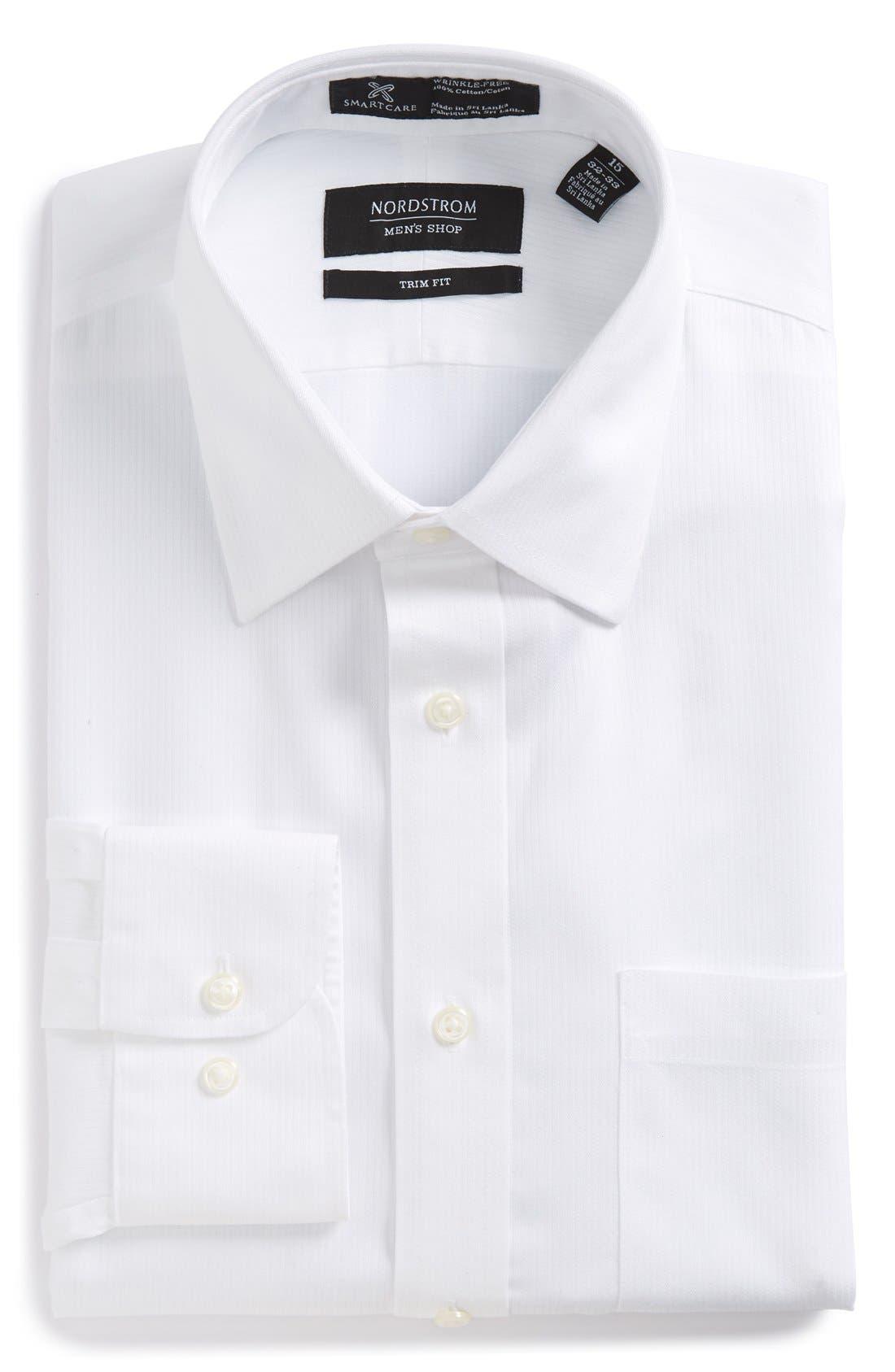 Smartcare<sup>™</sup> Trim Fit Dress Shirt,                             Alternate thumbnail 5, color,                             WHITE