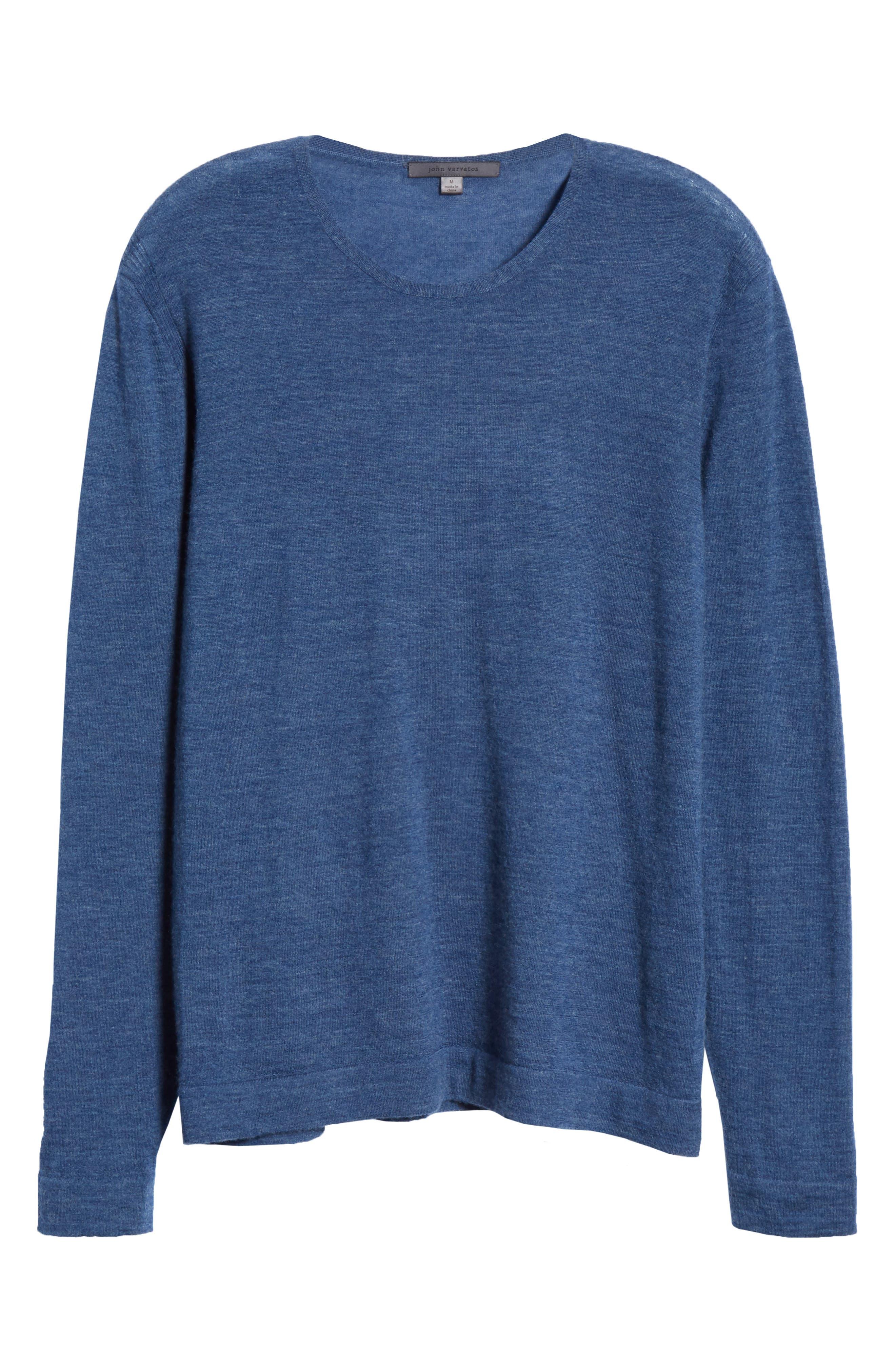 Cashmere Crewneck Sweater,                             Alternate thumbnail 6, color,                             SAPPHIRE