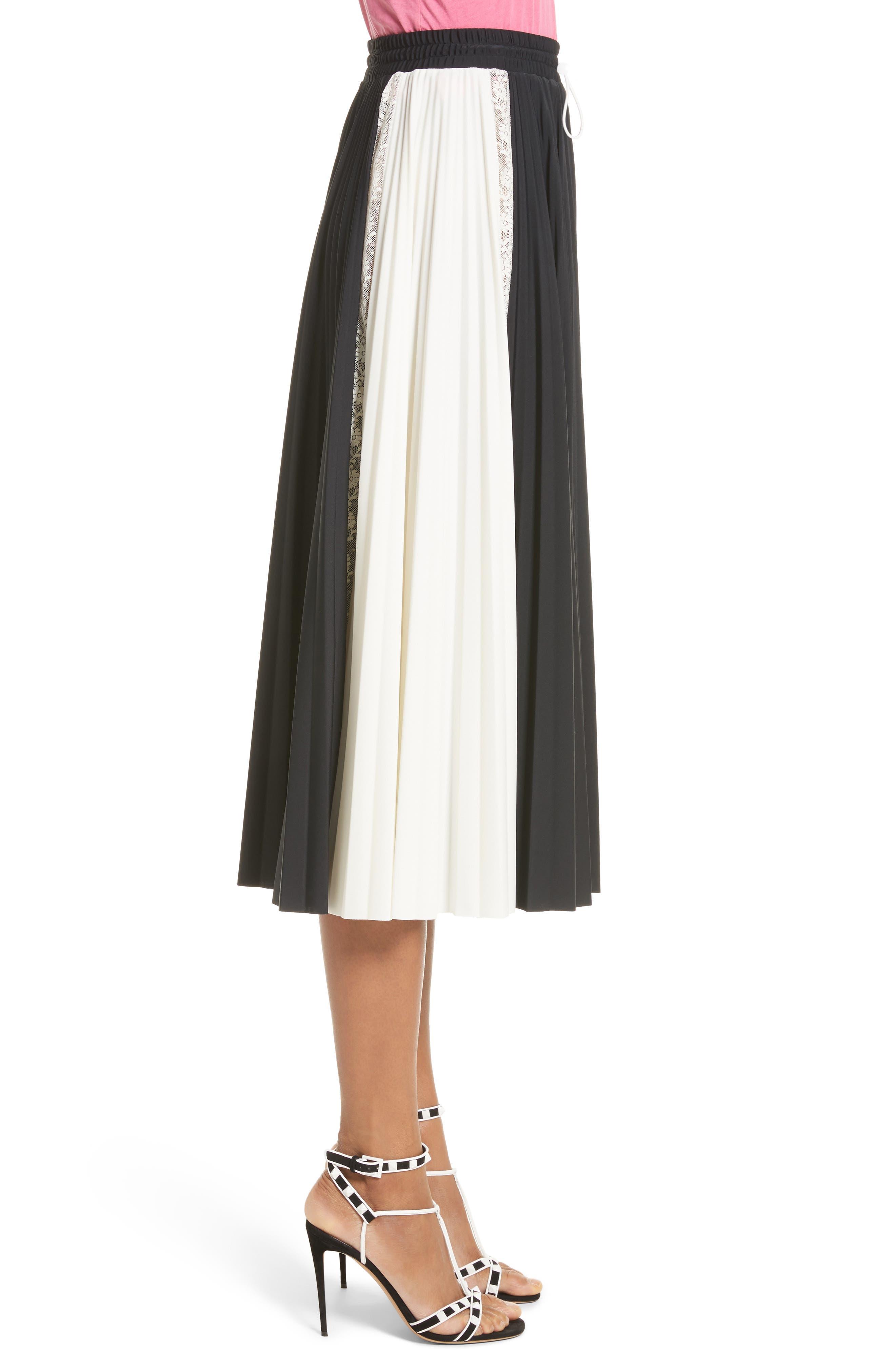 Bicolor Jersey & Lace Plissé Skirt,                             Alternate thumbnail 3, color,                             001
