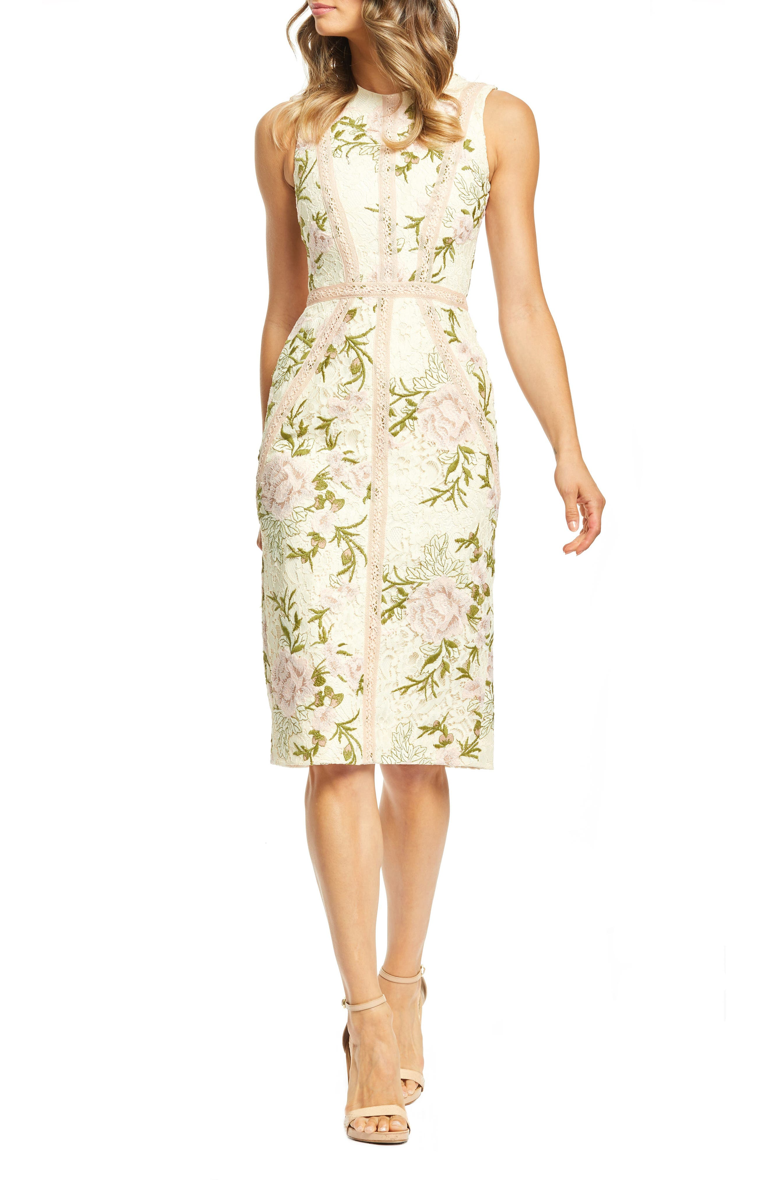 Dress The Population Penelope Lace Cocktail Dress, Ivory