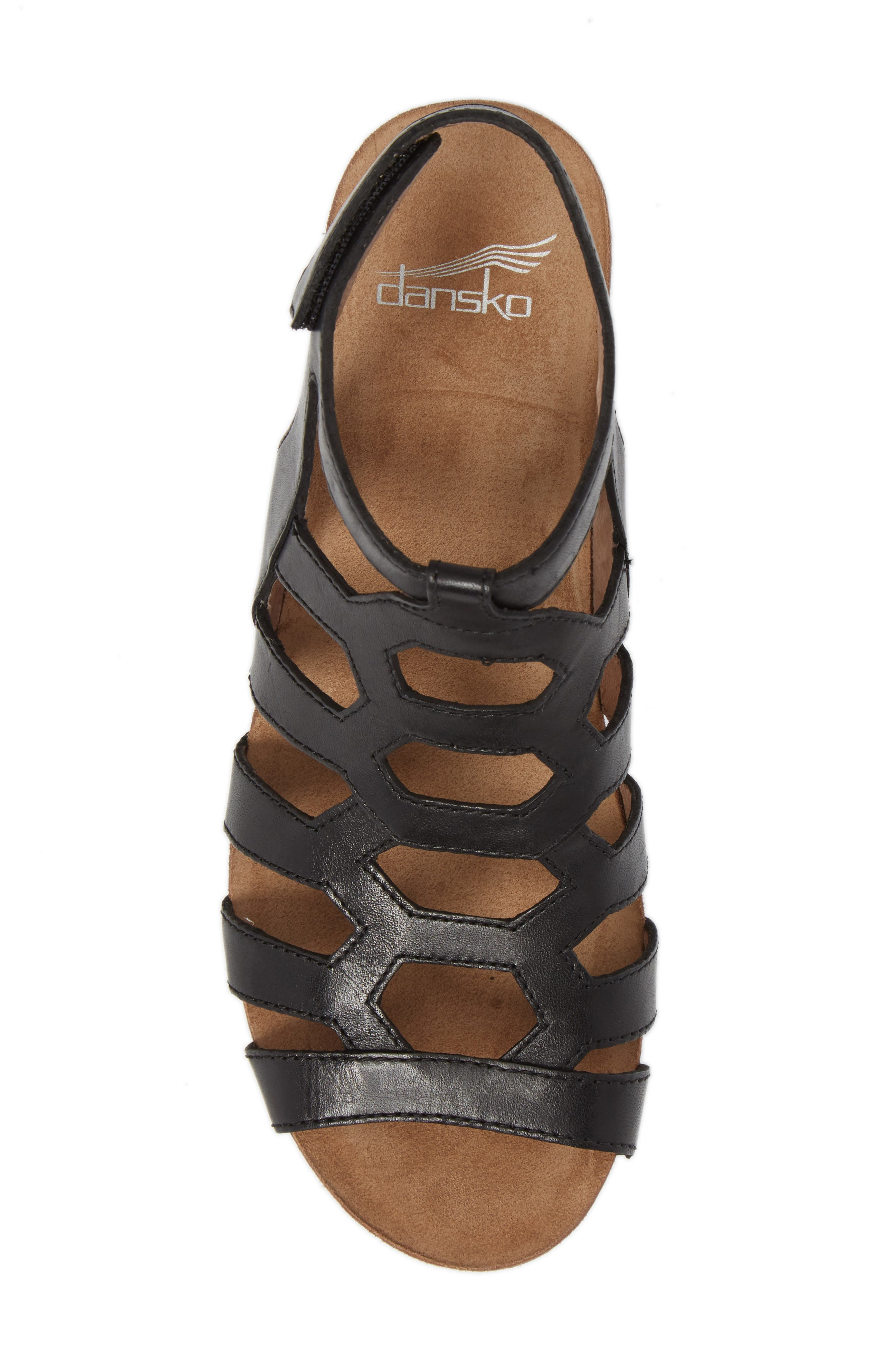 Valentina Caged Wedge Sandal,                             Alternate thumbnail 5, color,                             001