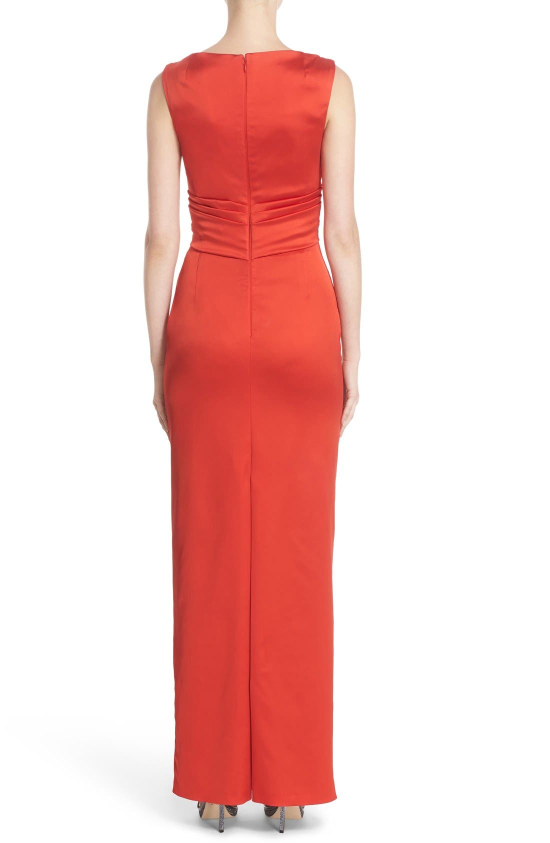 V-Neck Ruched Stretch Satin Column Gown,                             Alternate thumbnail 4, color,