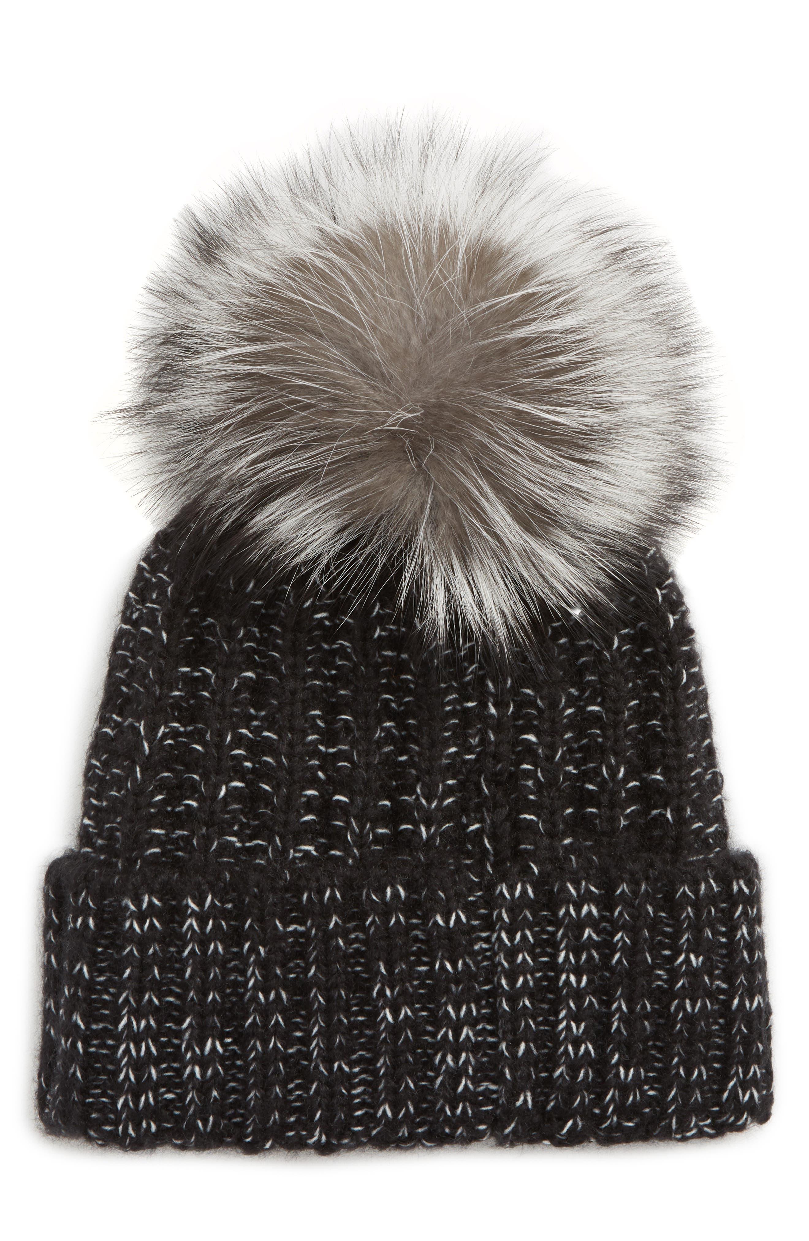 Beanie with Genuine Fox Fur Pom,                             Main thumbnail 1, color,                             001