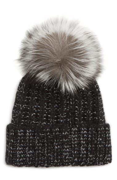 6a2690b7e89a3 Kyi Kyi Beanie with Genuine Fox Fur Pom