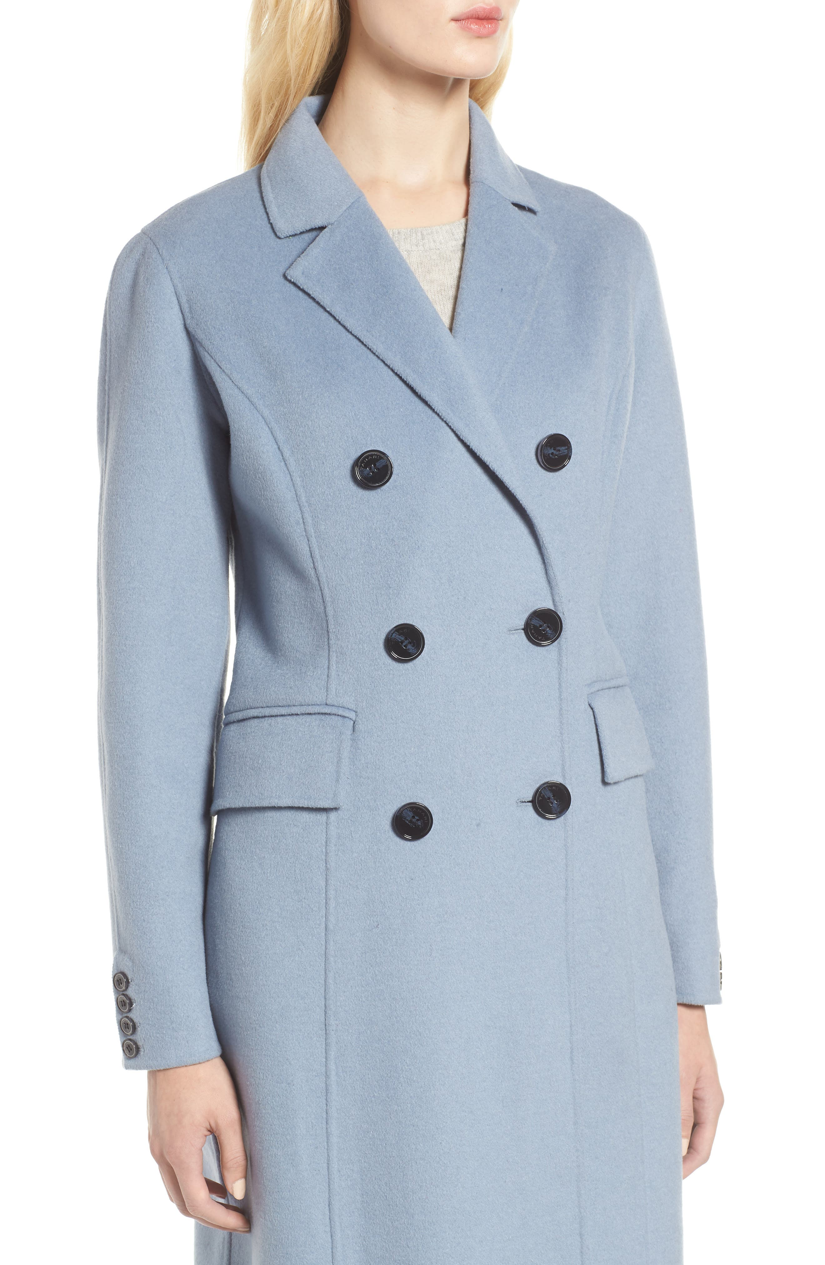 Taylor Double Breasted Wool Coat,                             Alternate thumbnail 4, color,                             PALE BLUE