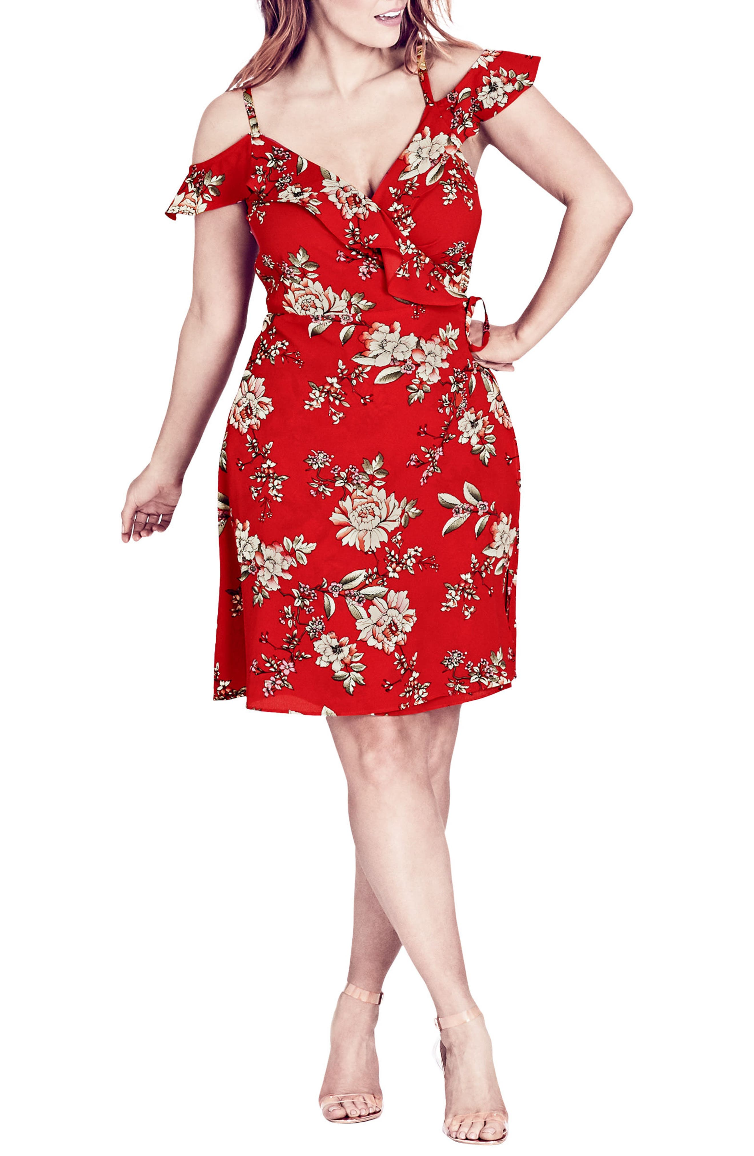 plus size women's city chic wild floral cold shoulder dress, size small - red