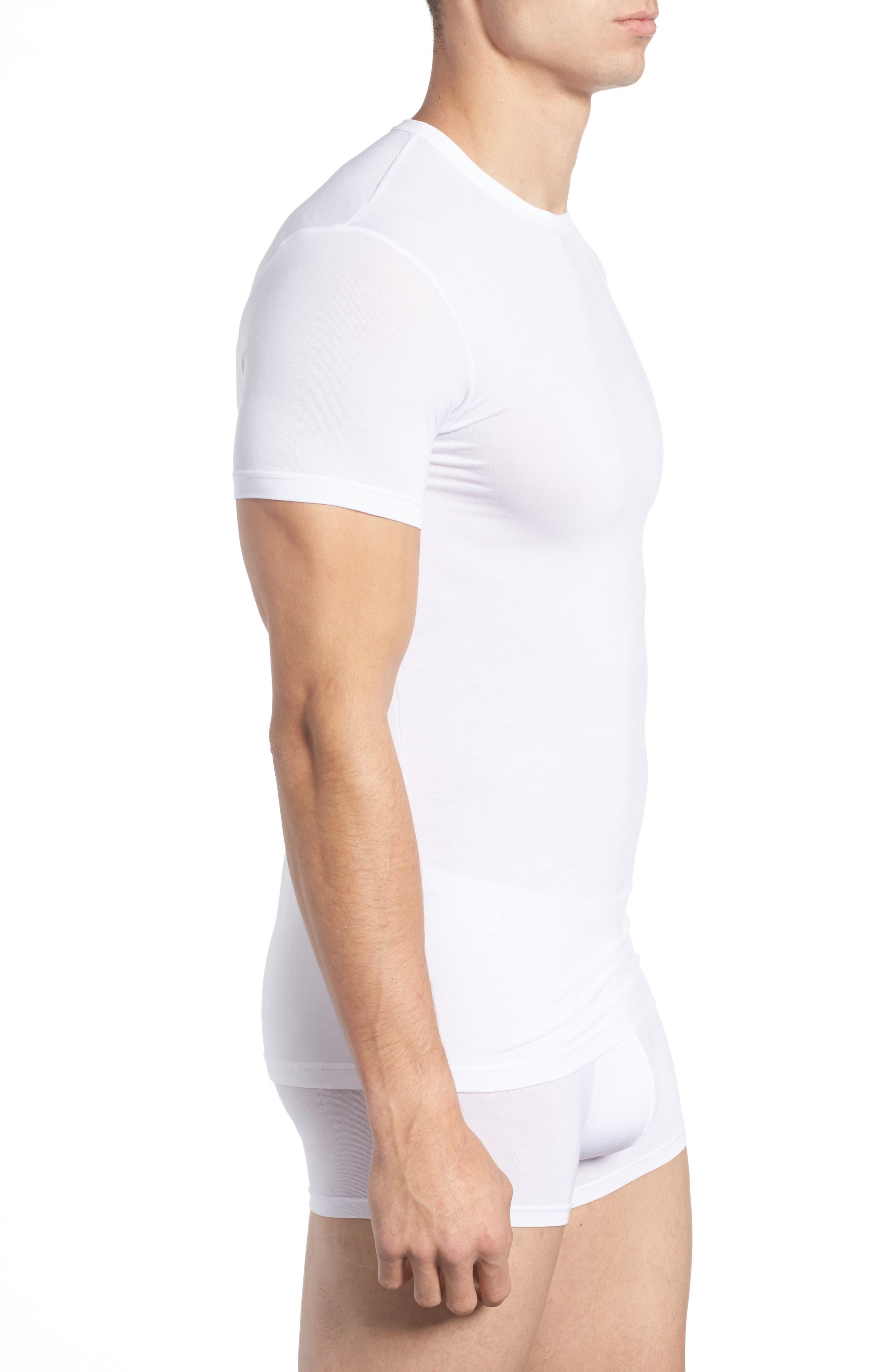 'U5551' Modal Blend Crewneck T-Shirt,                             Alternate thumbnail 3, color,                             WHITE