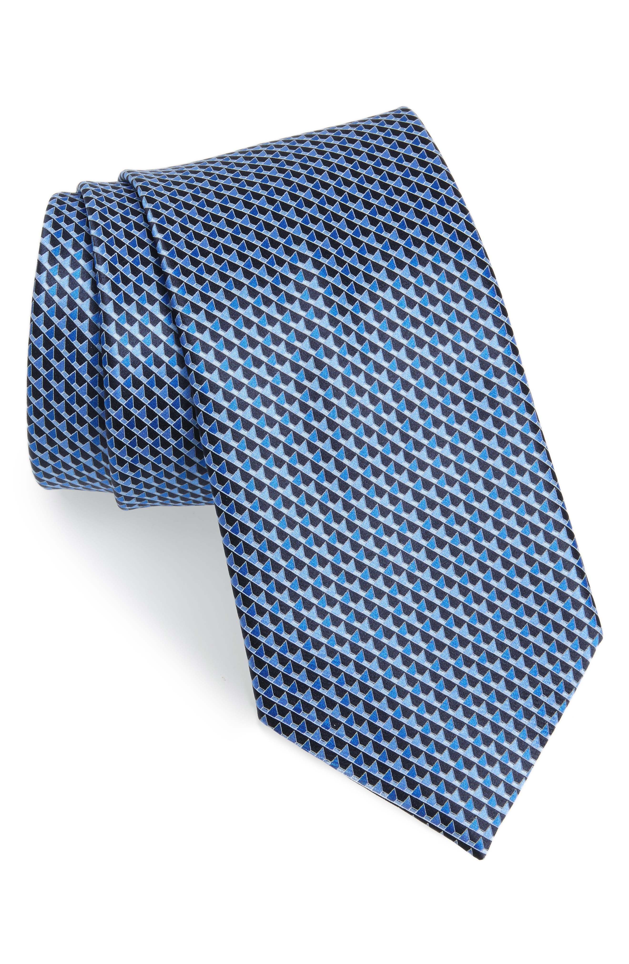 Geometric Silk Tie,                             Main thumbnail 1, color,                             418