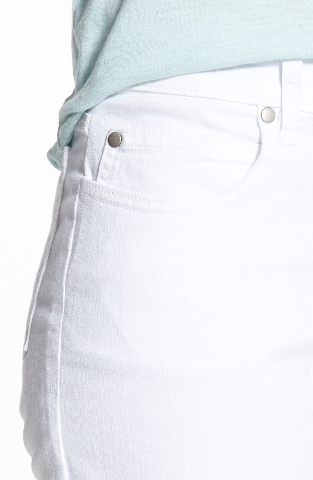 Garment Dyed Stretch Ankle Skinny Jeans,                             Alternate thumbnail 6, color,                             WHITE