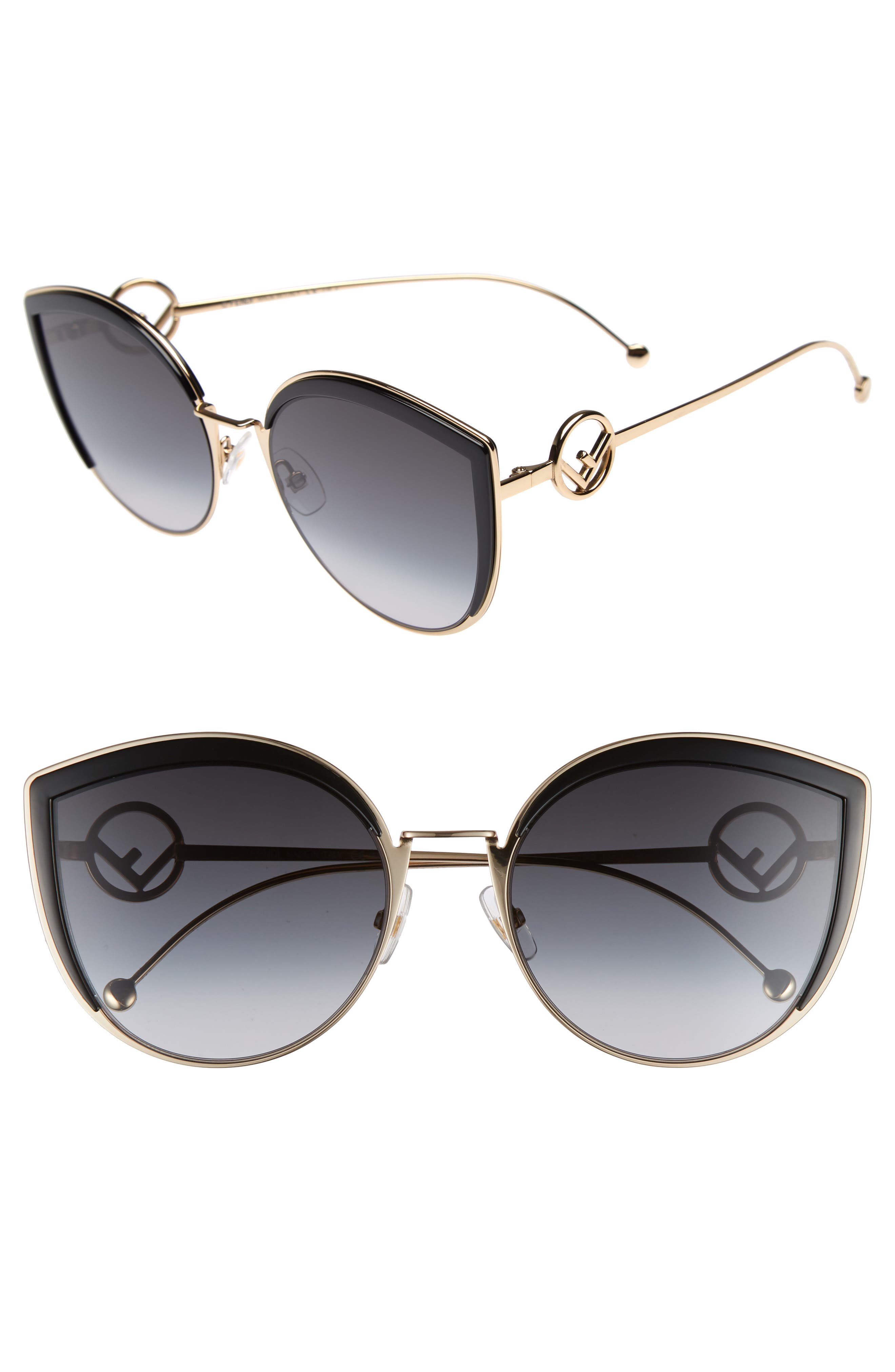 58mm Metal Butterfly Sunglasses,                         Main,                         color, BLACK