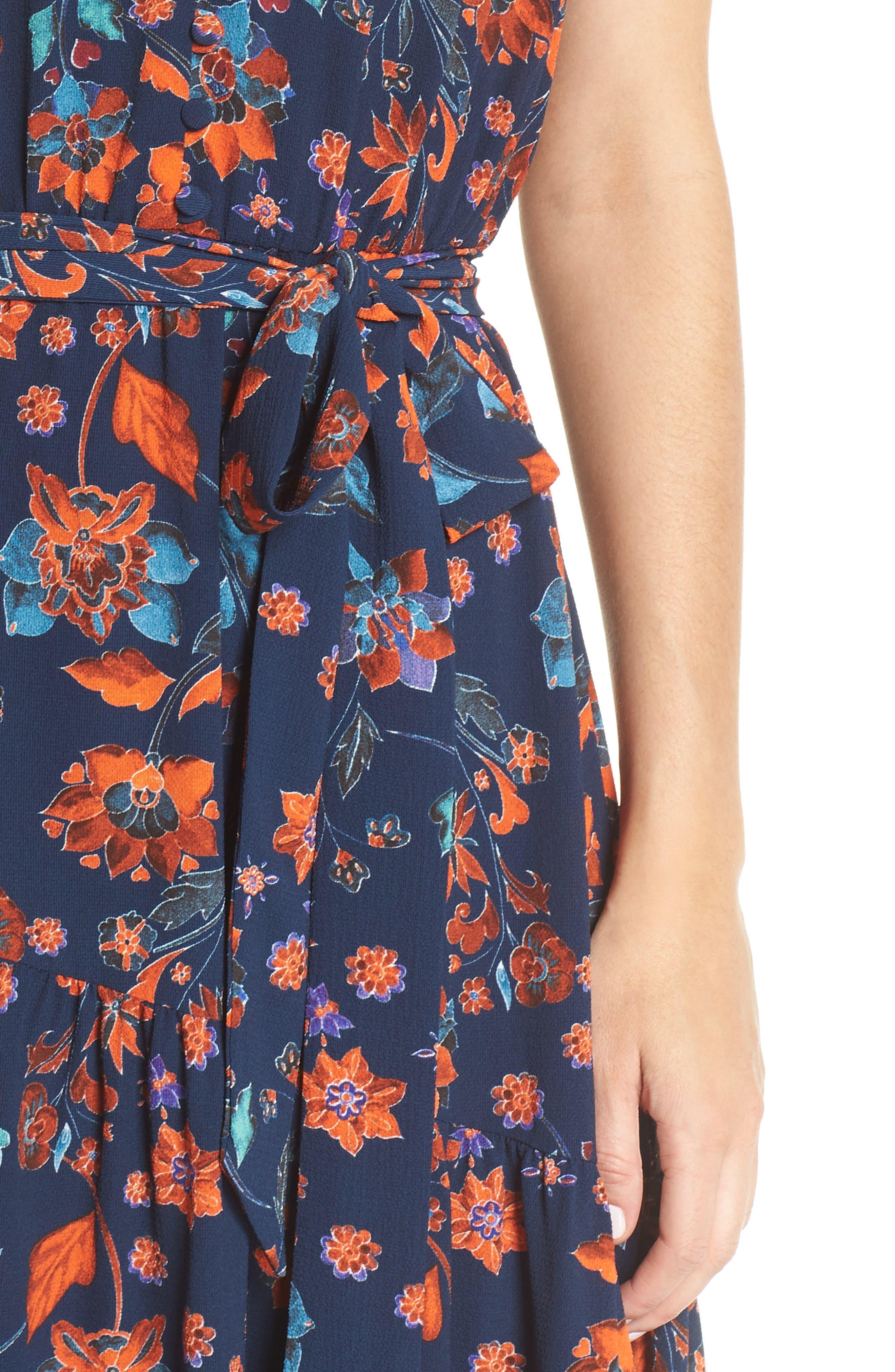 Smock Shoulder Floral Crepe Midi Dress,                             Alternate thumbnail 4, color,                             NAVY/ RED