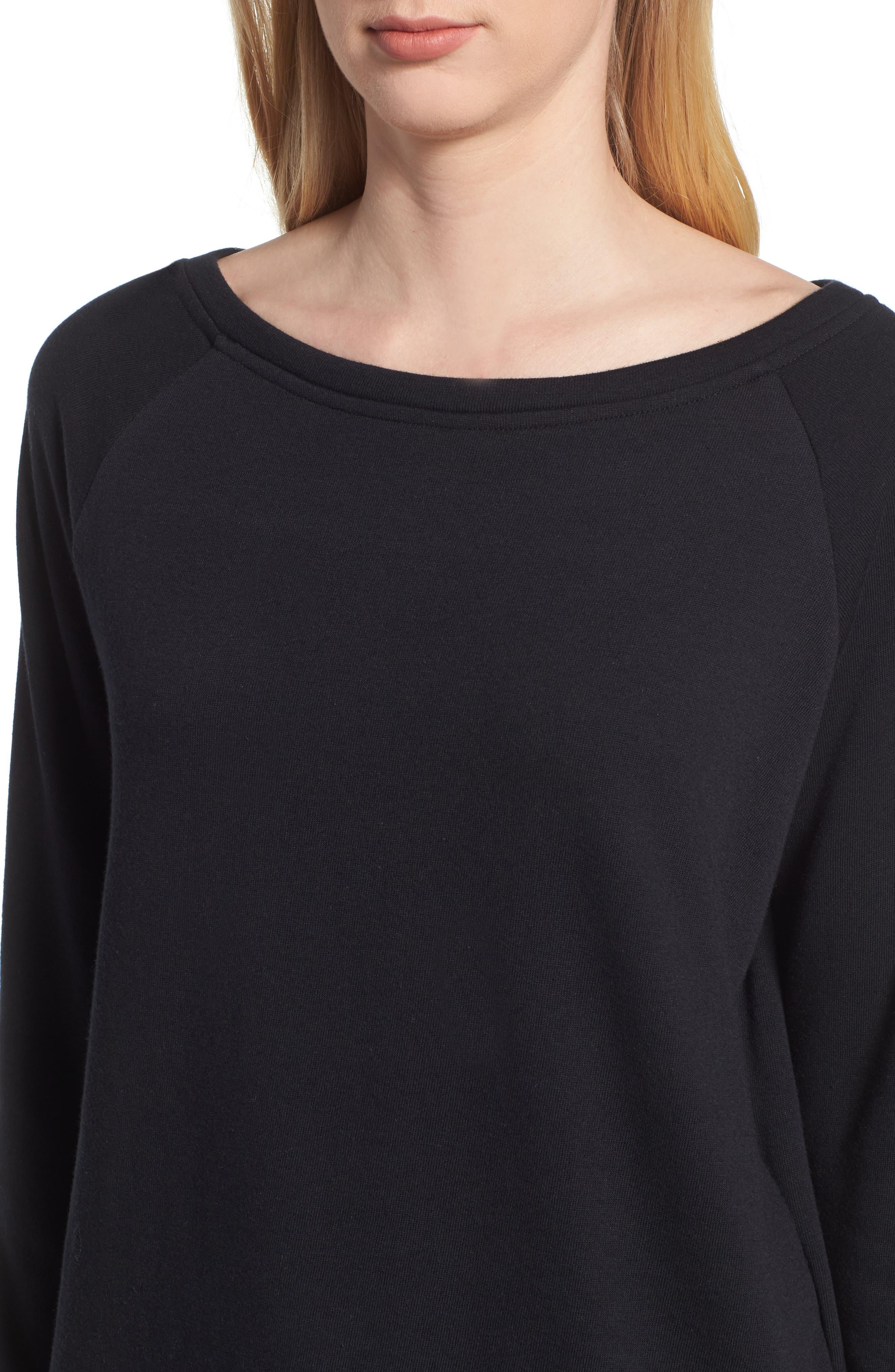 Slouch Sweatshirt,                             Alternate thumbnail 4, color,                             BLACK