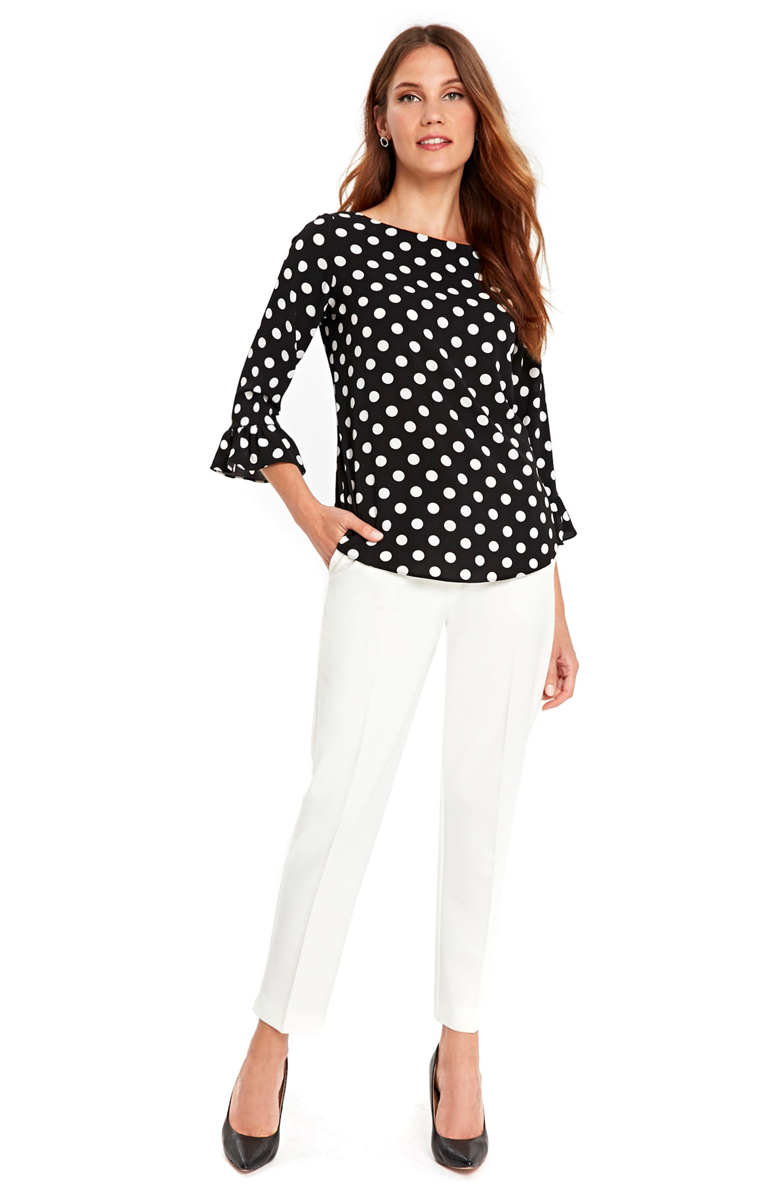 Flute Sleeve Polka Dot Top,                             Alternate thumbnail 5, color,                             001
