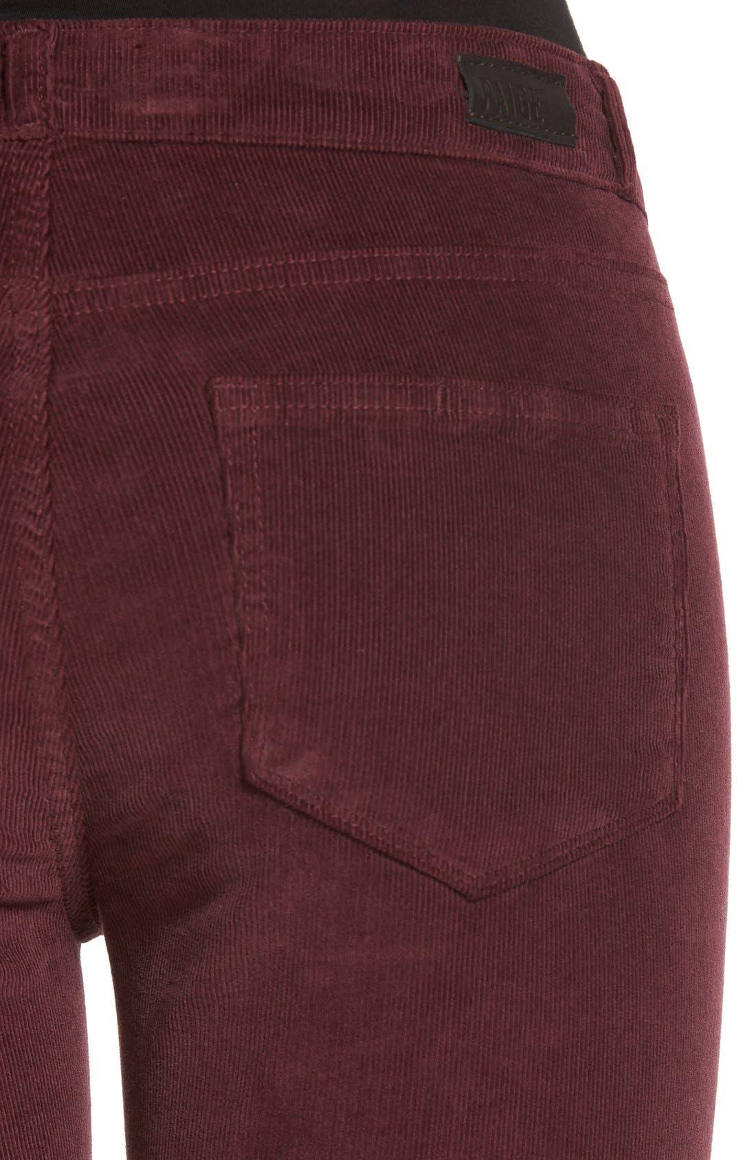 'Verdugo' Ankle Skinny Corduroy Pants,                             Alternate thumbnail 4, color,                             500