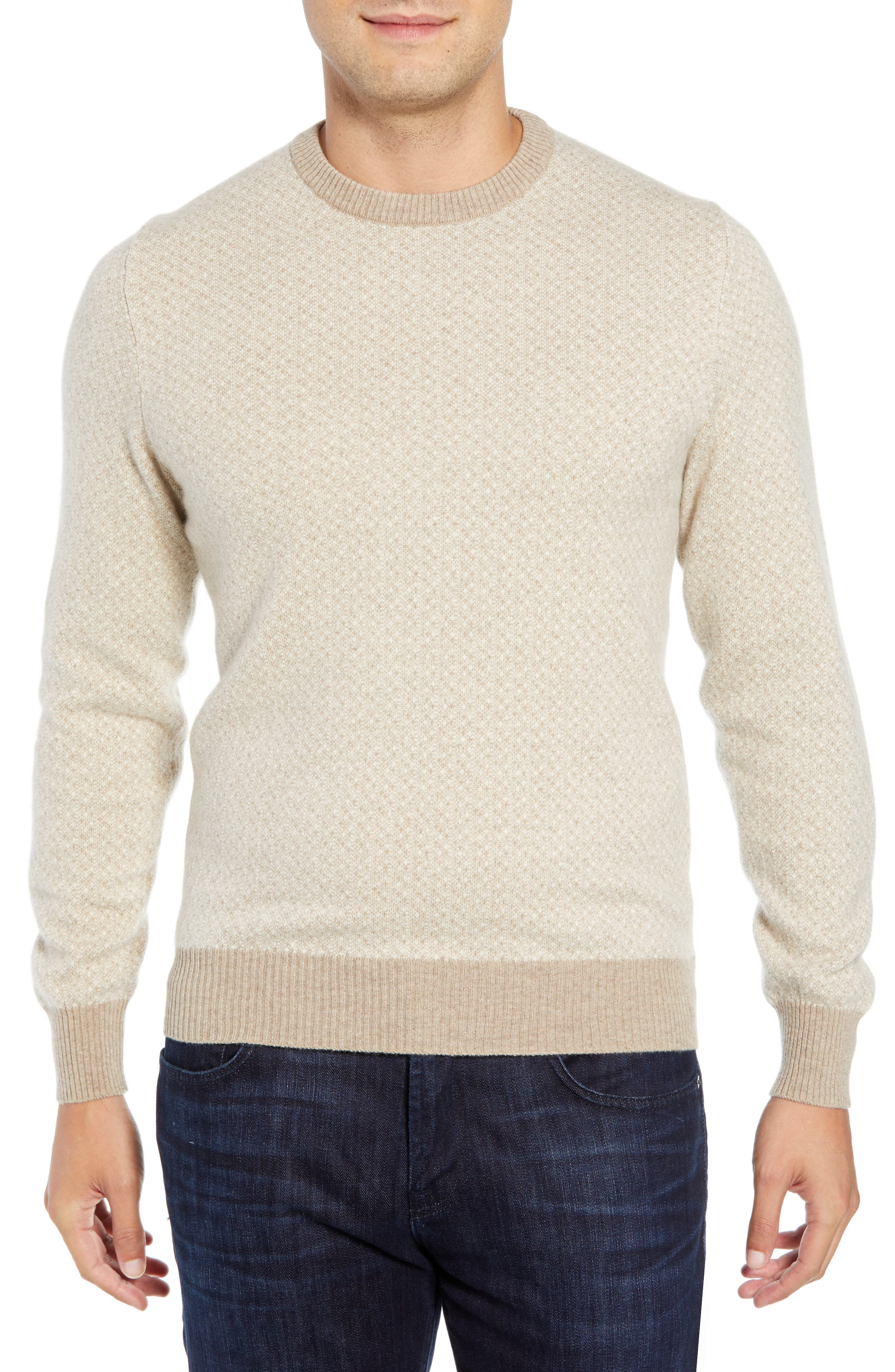 LUCIANO BARBERA Crewneck Cashmere Sweater in Beige