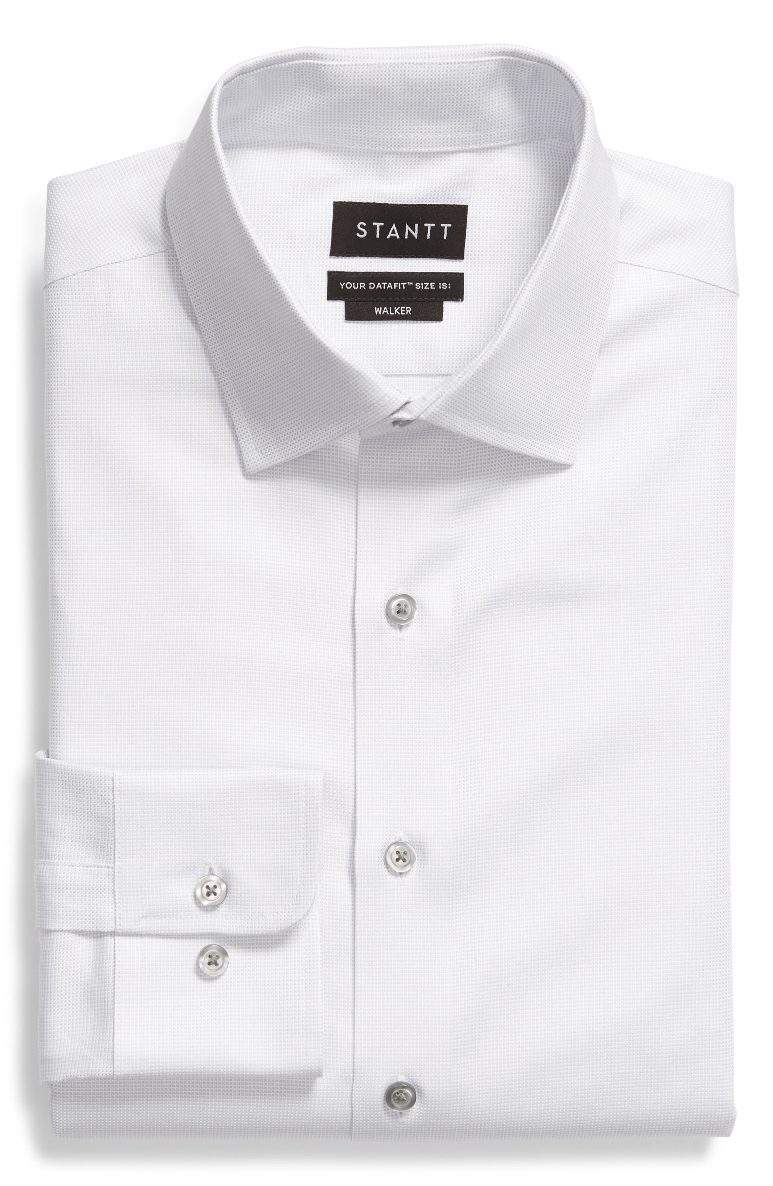 Slim Fit Solid Dress Shirt,                             Alternate thumbnail 5, color,                             GREY DOBBY