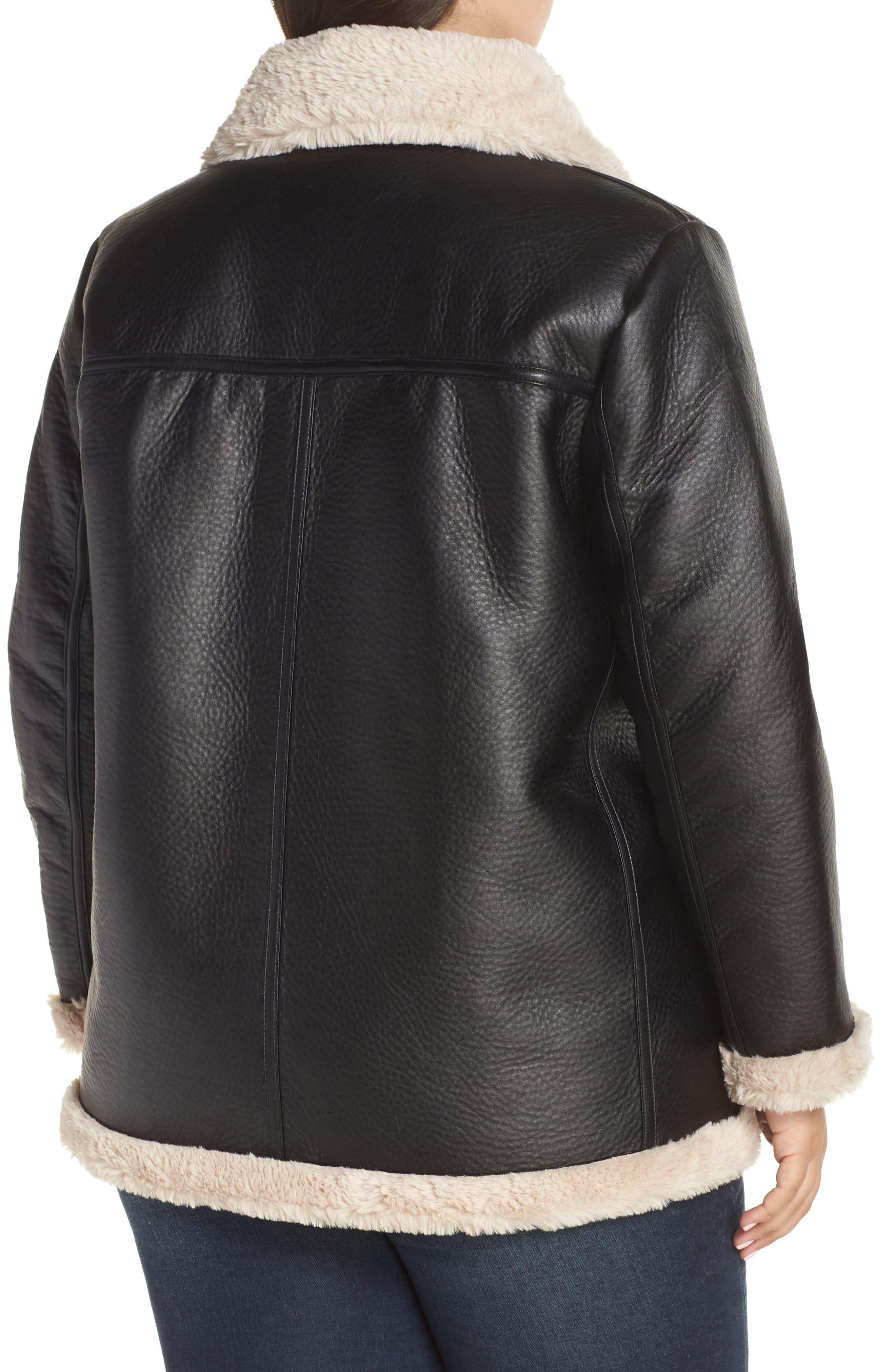 Faux Shearling Jacket,                             Alternate thumbnail 2, color,                             RICH BLACK