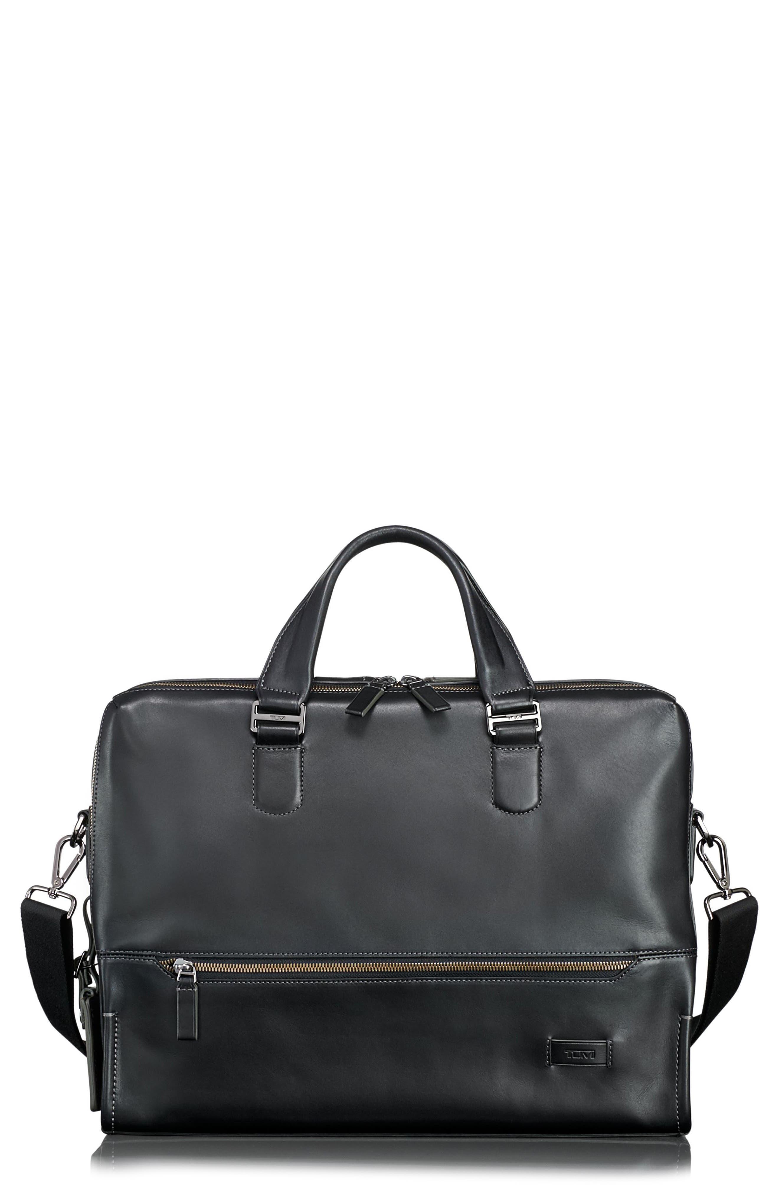 Harrison Horton Double Zip Leather Briefcase,                             Main thumbnail 1, color,                             001