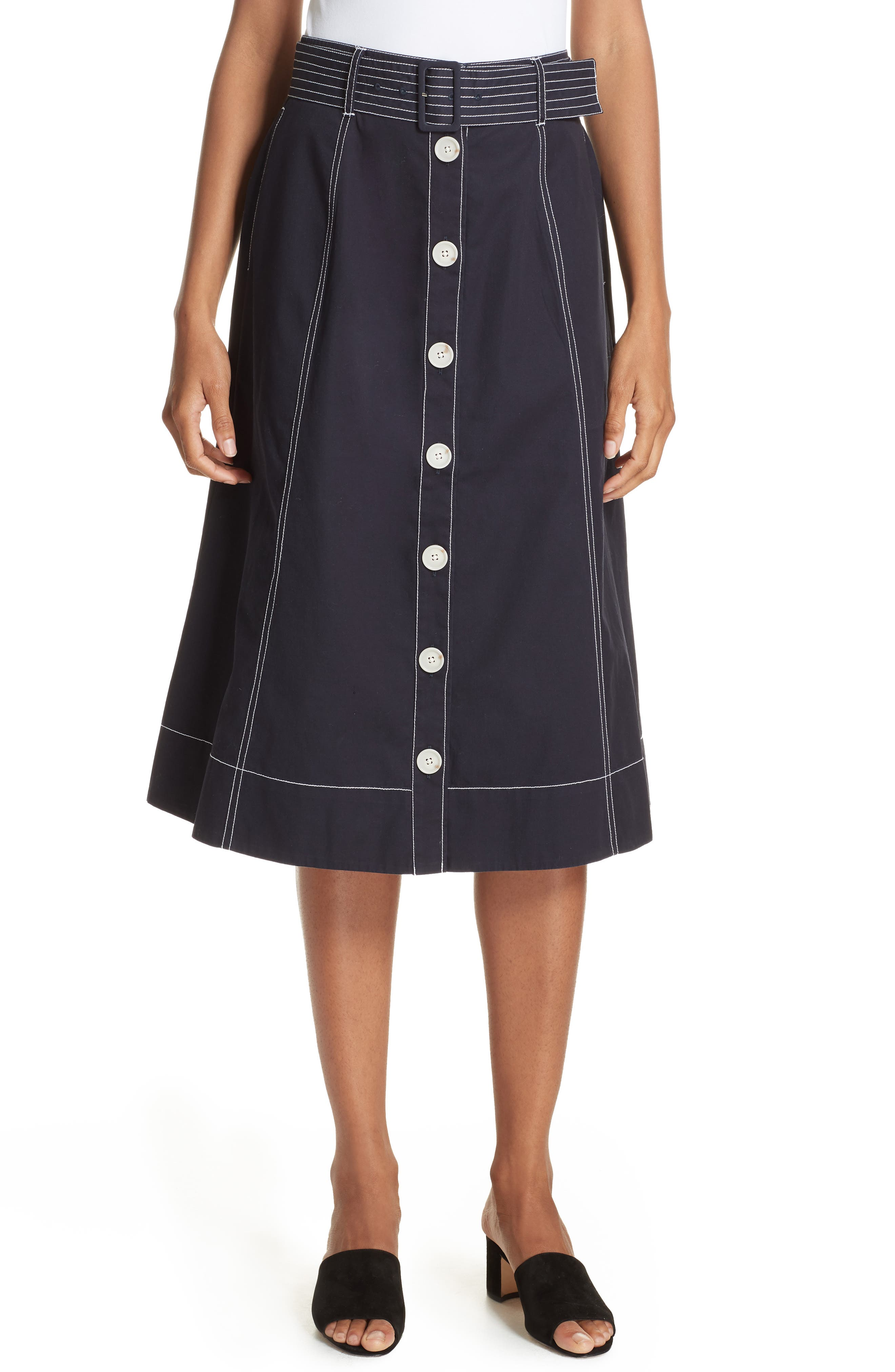 Mayaly Belted Cotton Skirt,                             Main thumbnail 1, color,                             MIDNIGHT