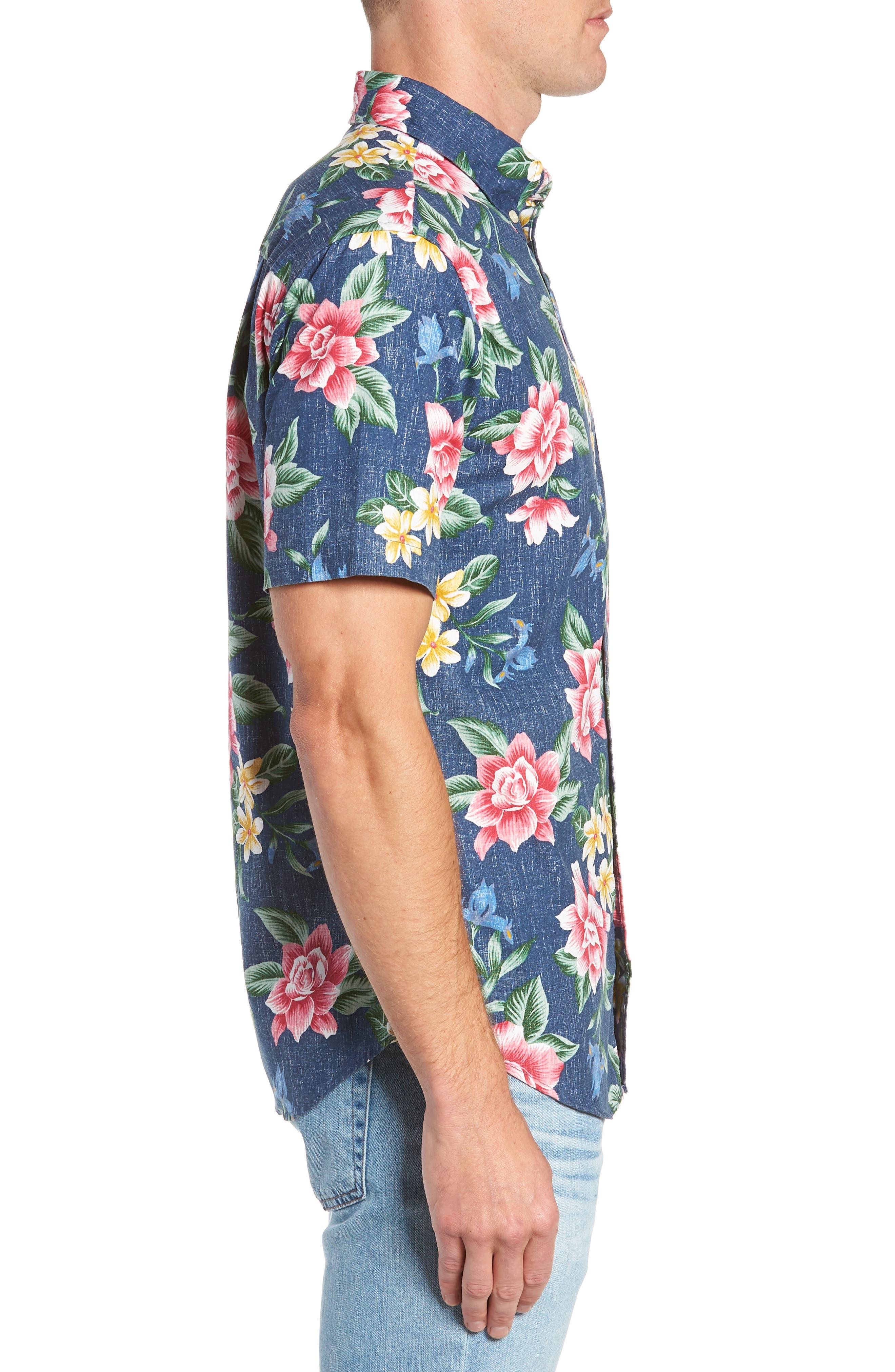 Hou Pua Nui Regular Fit Sport Shirt,                             Alternate thumbnail 3, color,                             INK