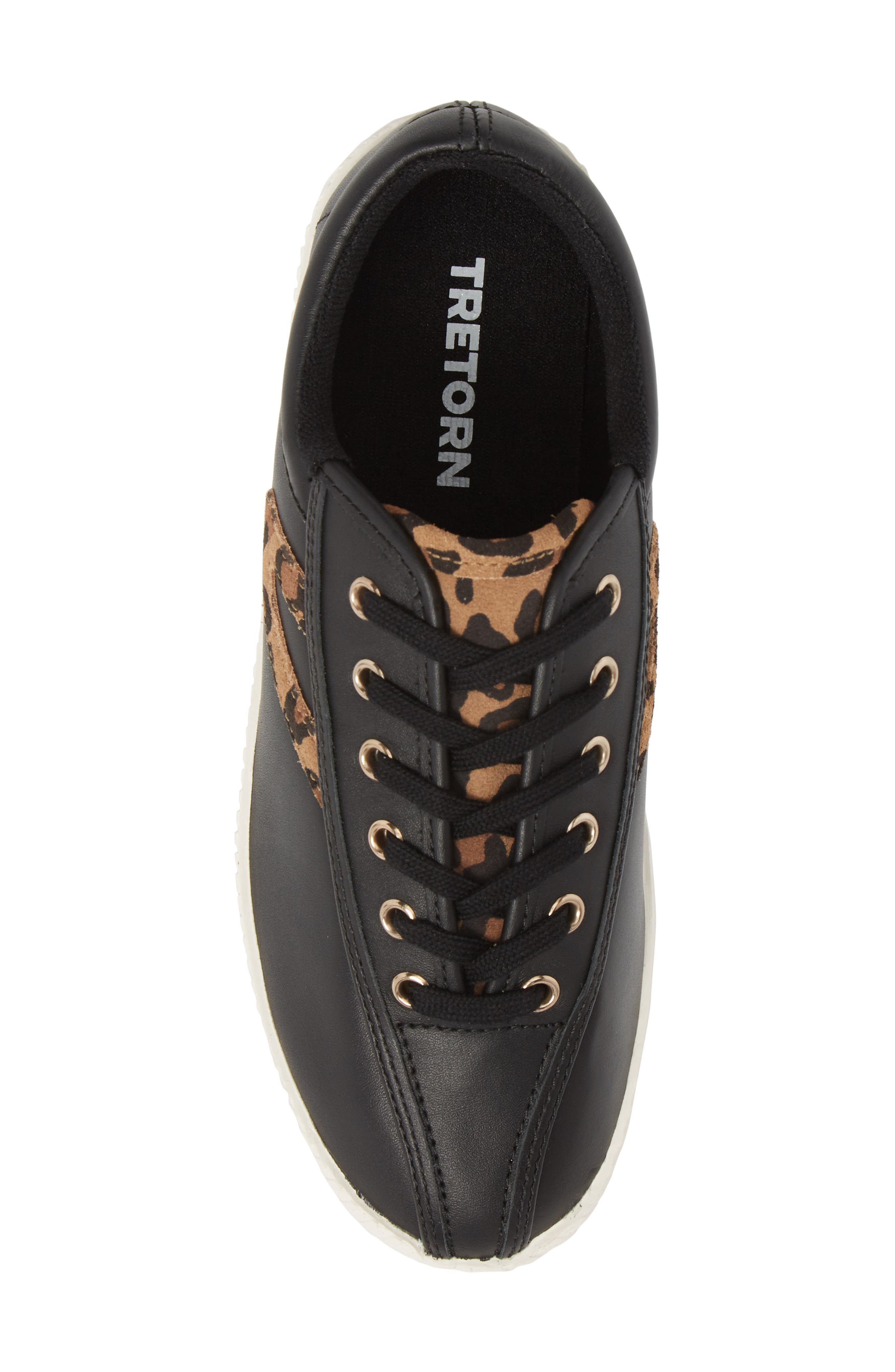 Patterned Sneaker,                             Alternate thumbnail 5, color,                             BLACK/ TAN/ BLACK LEATHER