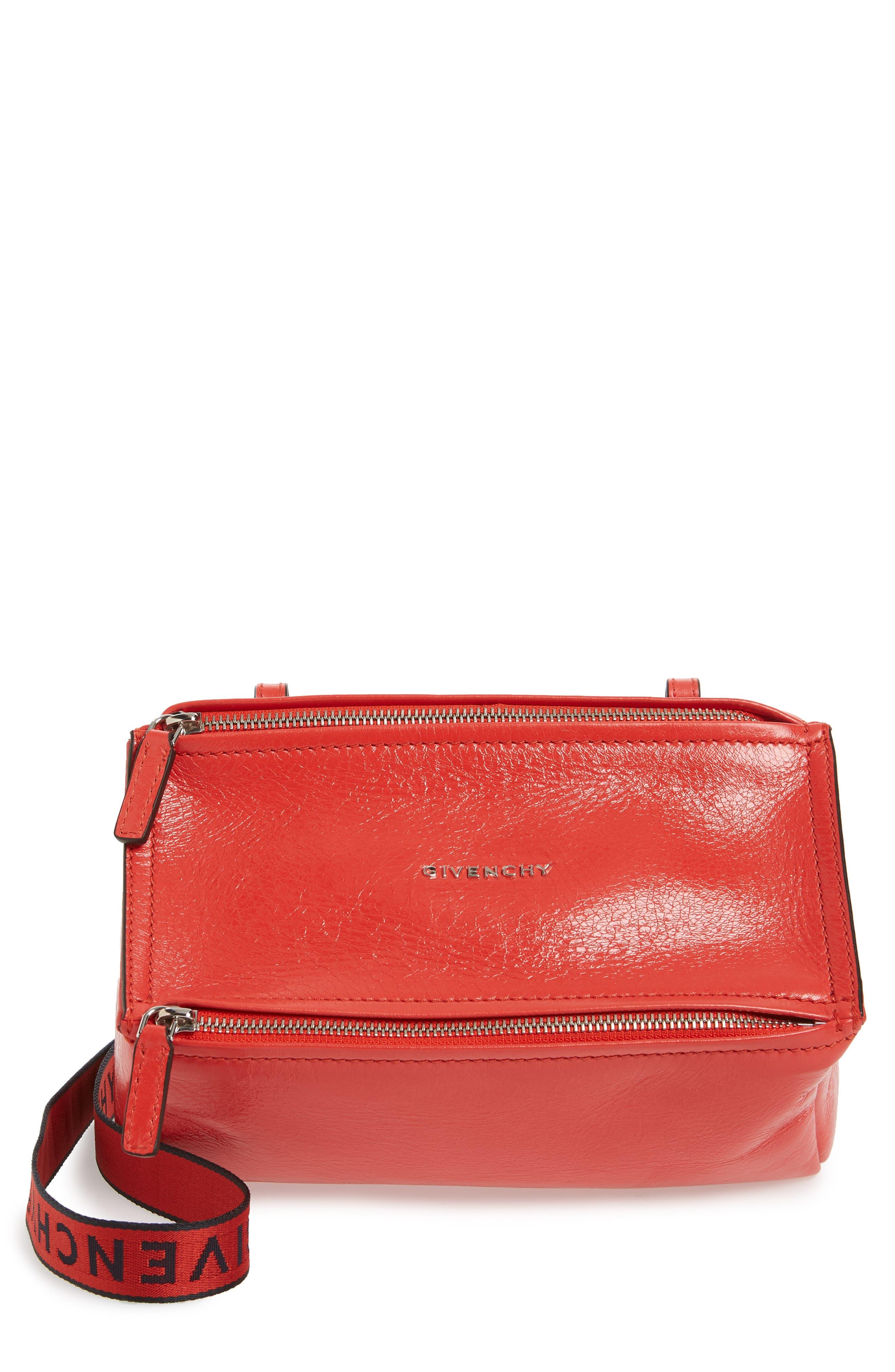 Mini Pandora Glazed Leather Shoulder Bag, Main, color, POP RED