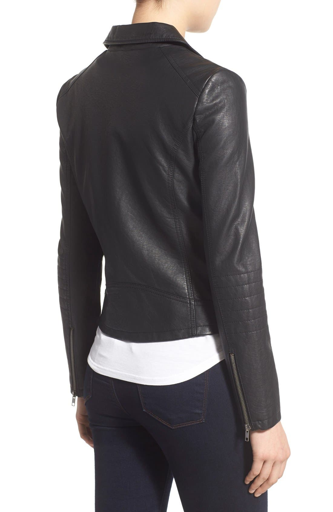 'Sid' Faux Leather Moto Jacket,                             Alternate thumbnail 9, color,