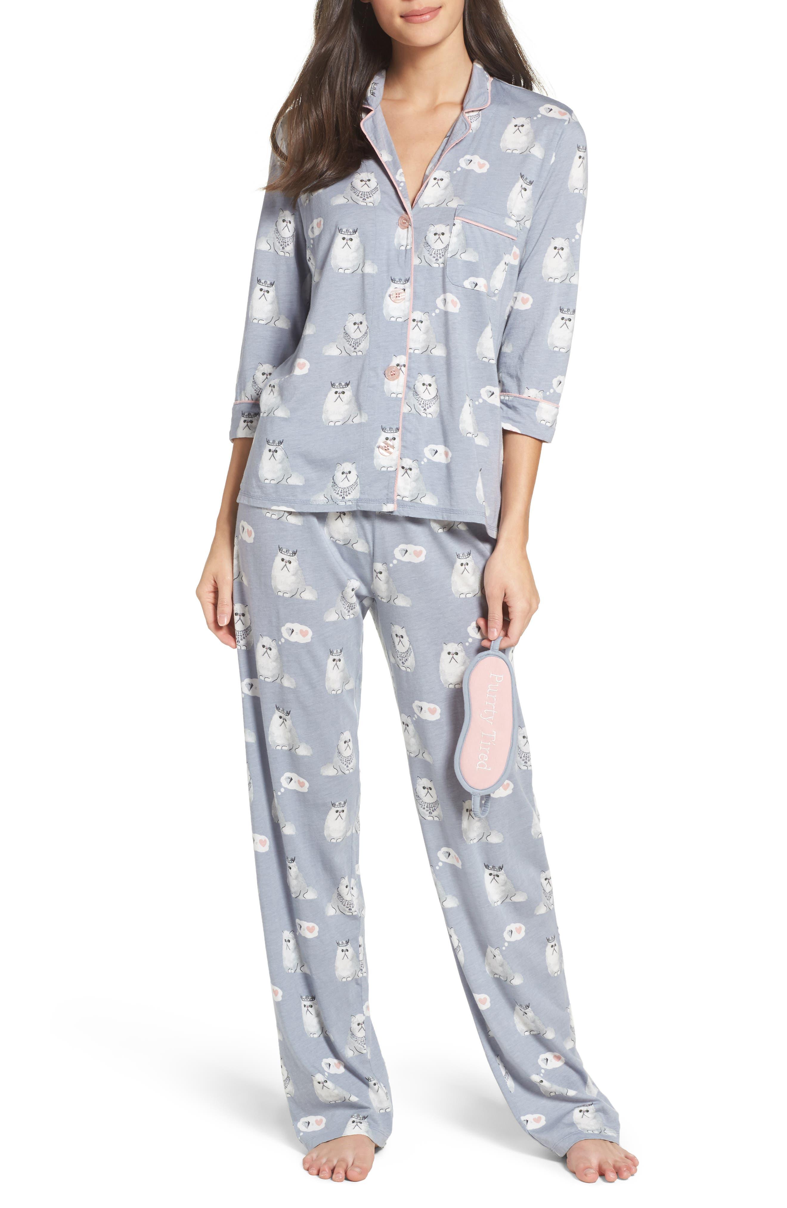 Playful Print Pajamas & Eye Mask,                             Main thumbnail 1, color,                             065