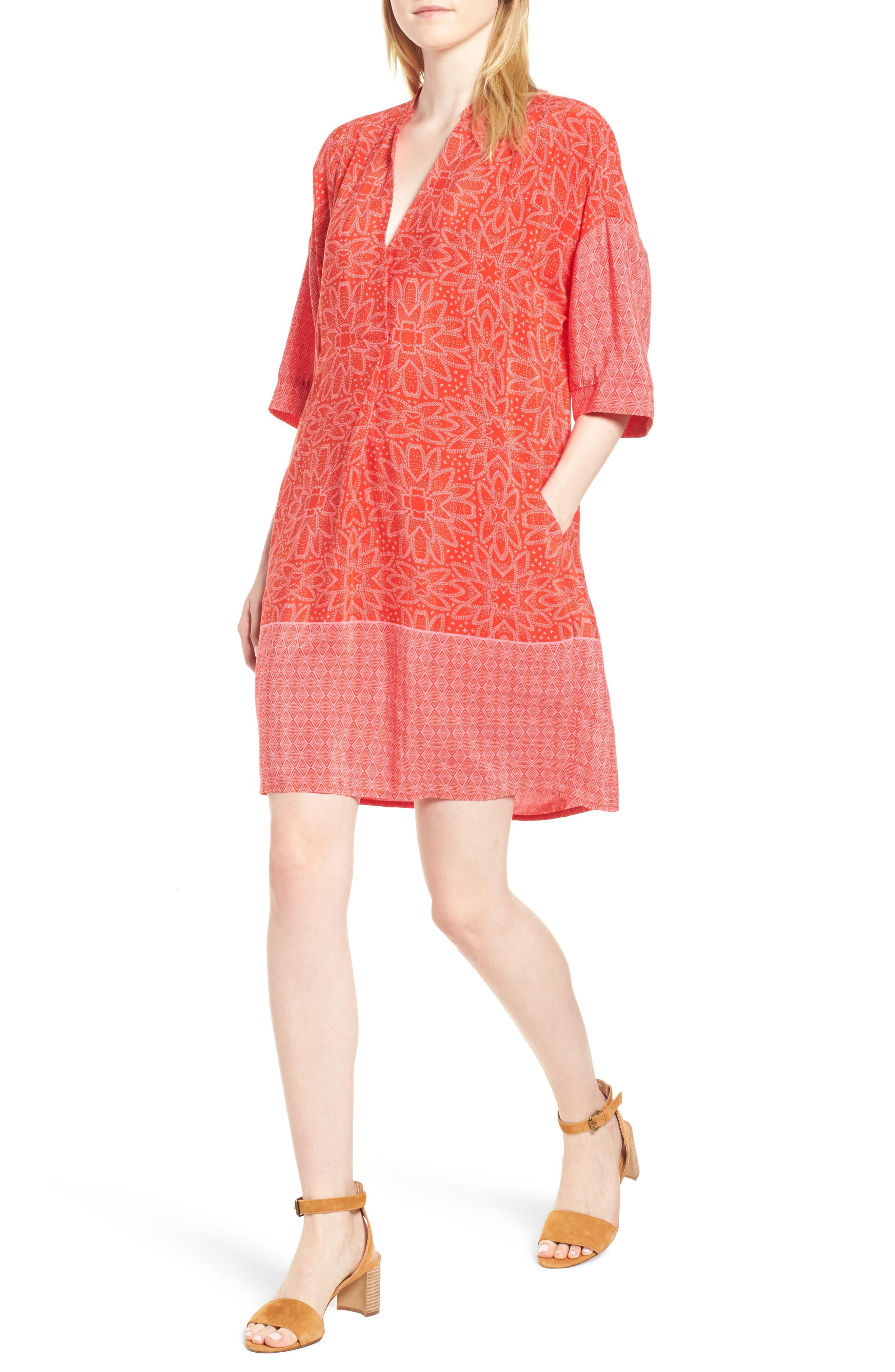 Luna Riya Print Dress,                         Main,                         color, RED/ MULTI
