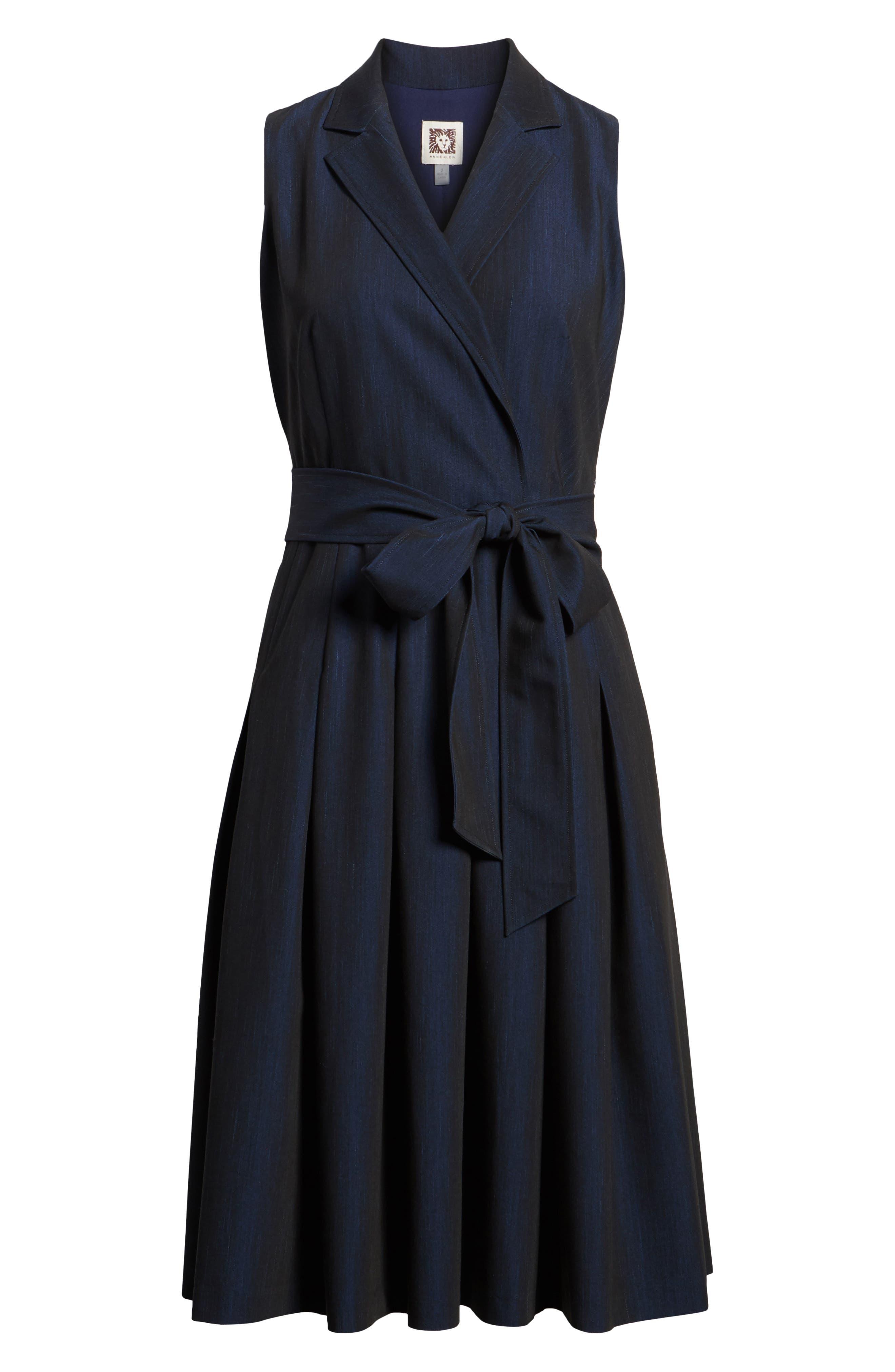 Notch Collar Stretch Denim Dress,                             Alternate thumbnail 12, color,