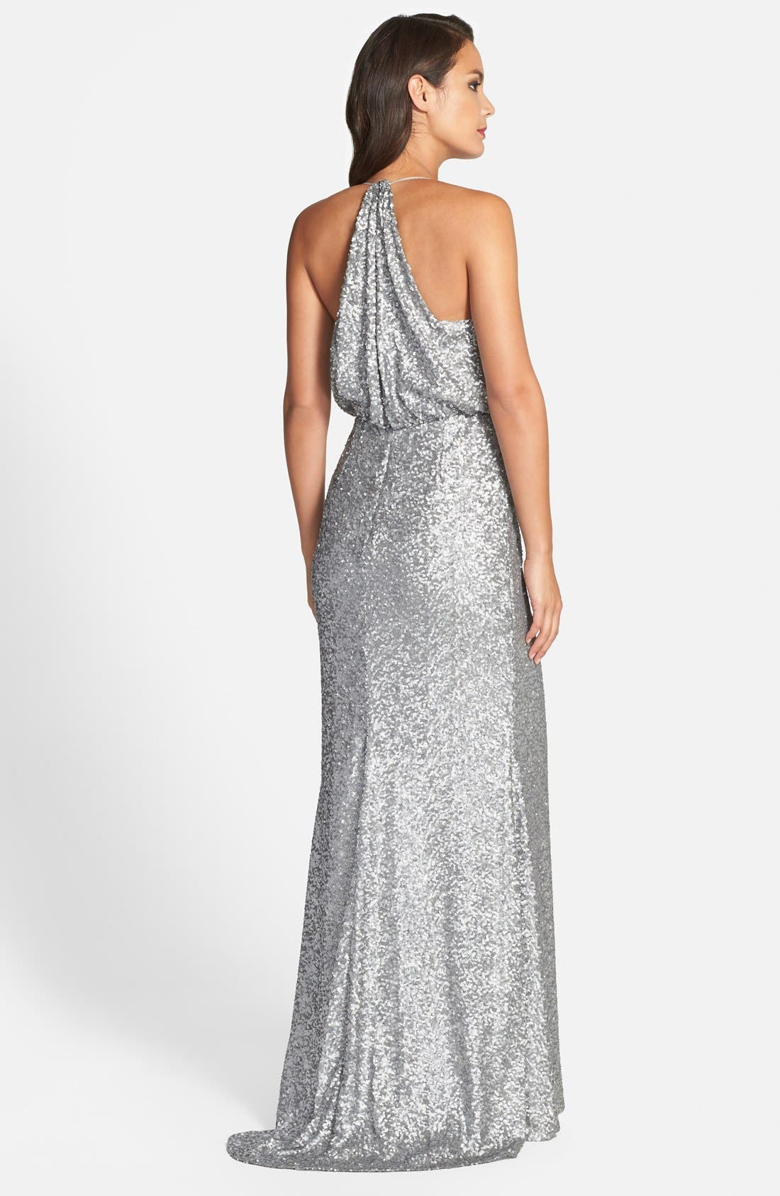 Badgley Mischka Sequin Mermaid Gown,                             Alternate thumbnail 3, color,                             042