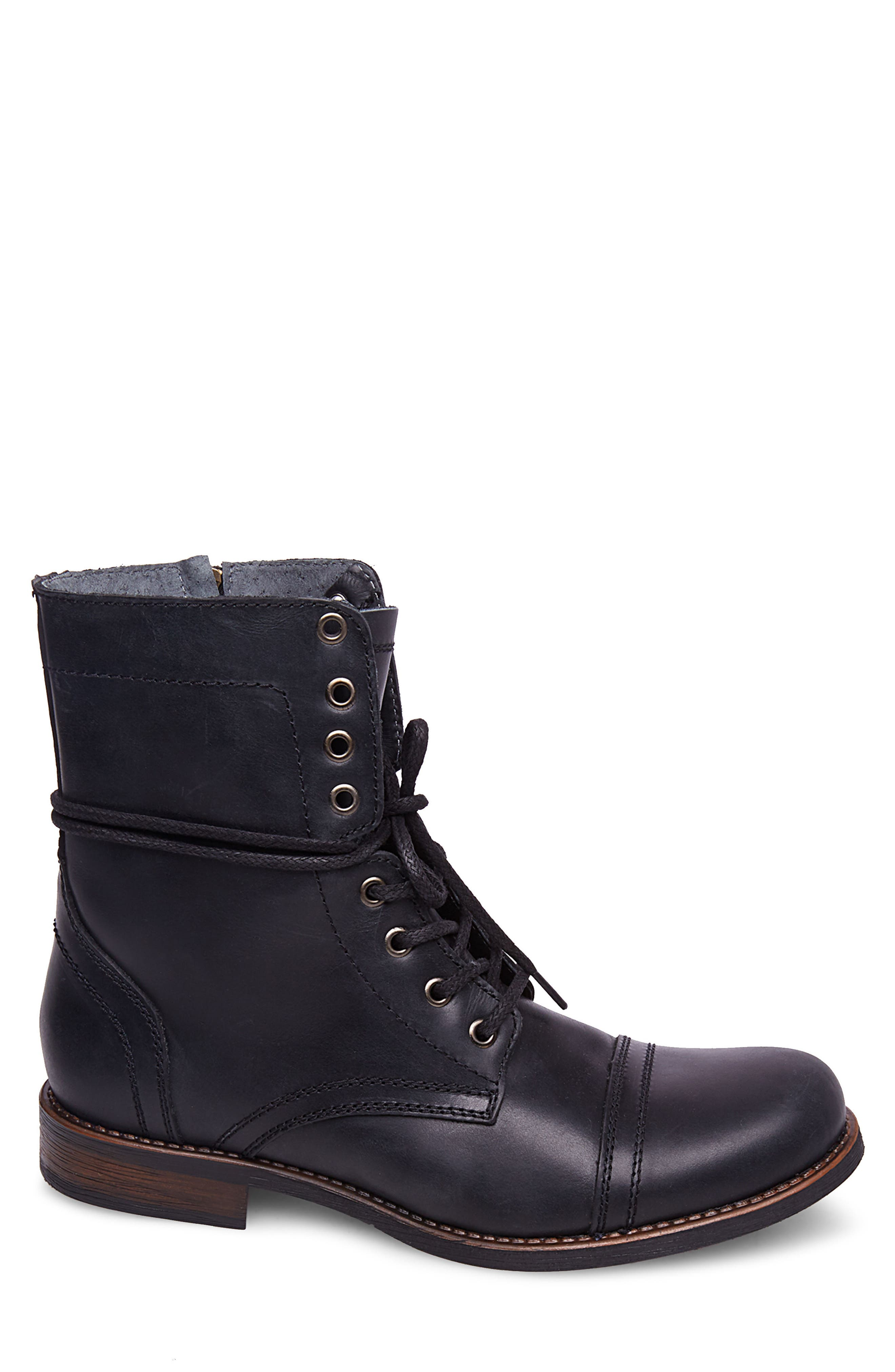 Troopah-C Cap Toe Boot,                             Alternate thumbnail 3, color,                             BLACK LEATHER