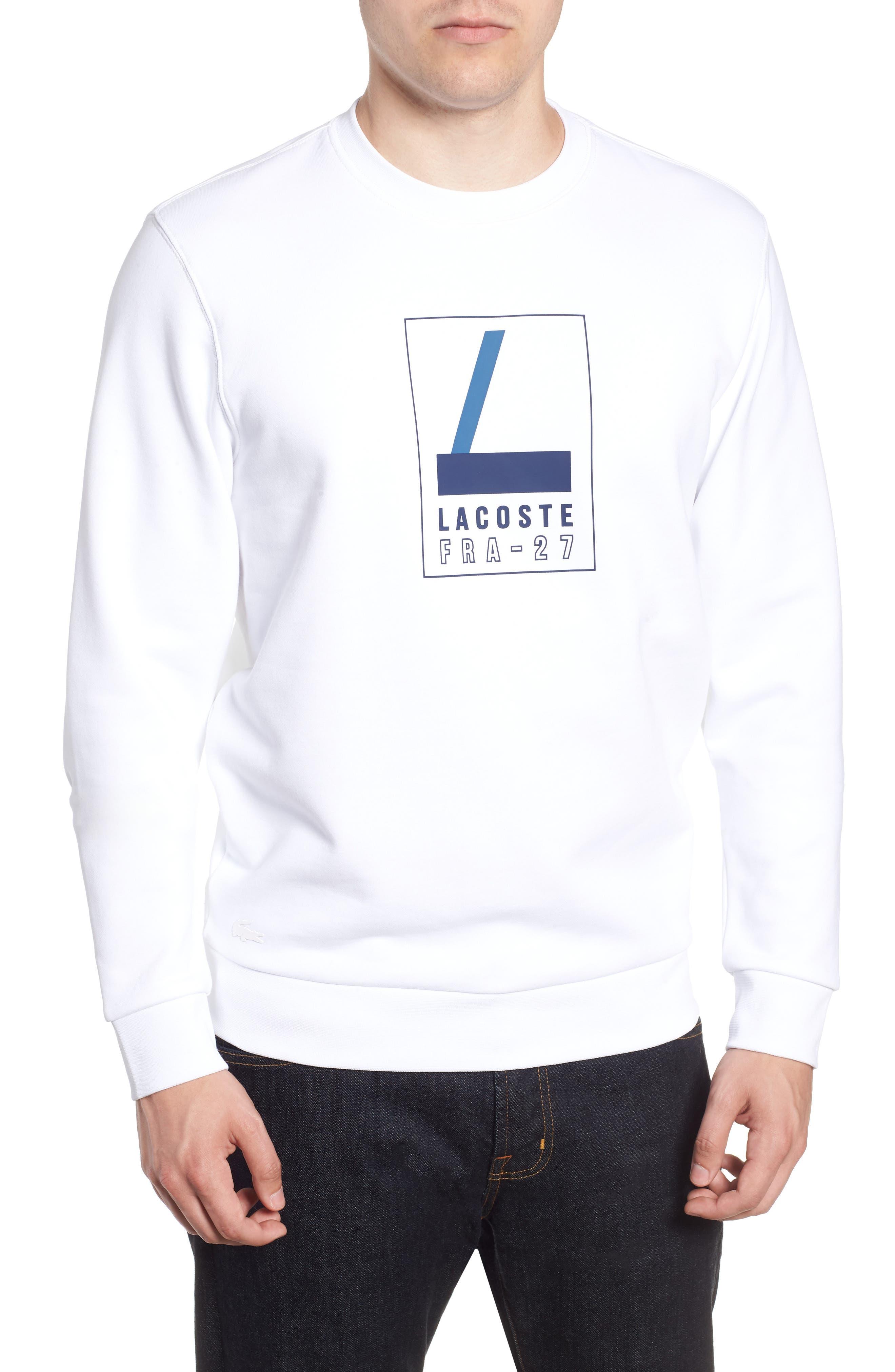 Heritage Regular Fit Sweatshirt,                             Main thumbnail 1, color,                             WHITE/ NAVY BLUE