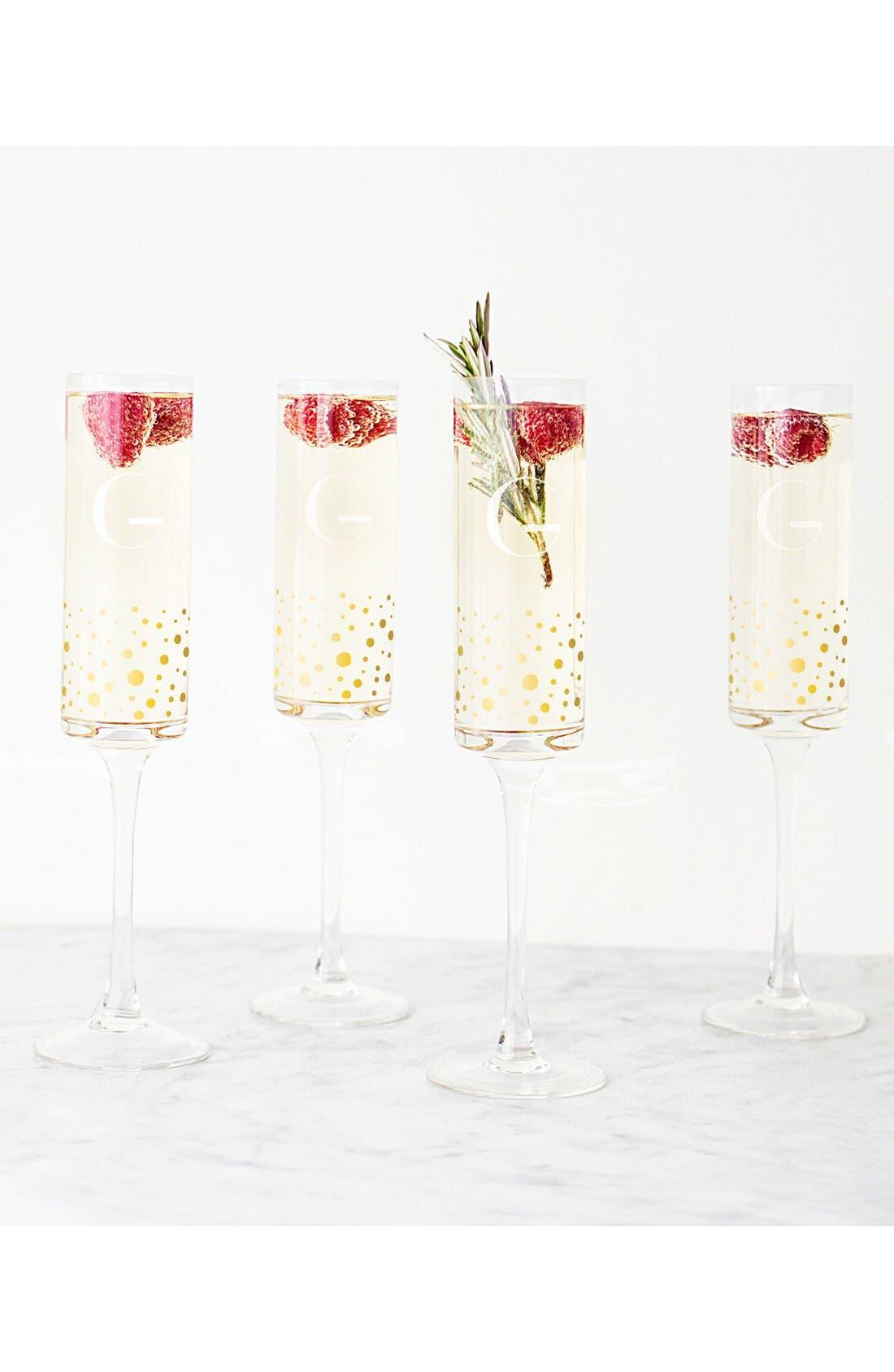 Gold Dot Monogram Champagne Flutes,                             Alternate thumbnail 5, color,                             710