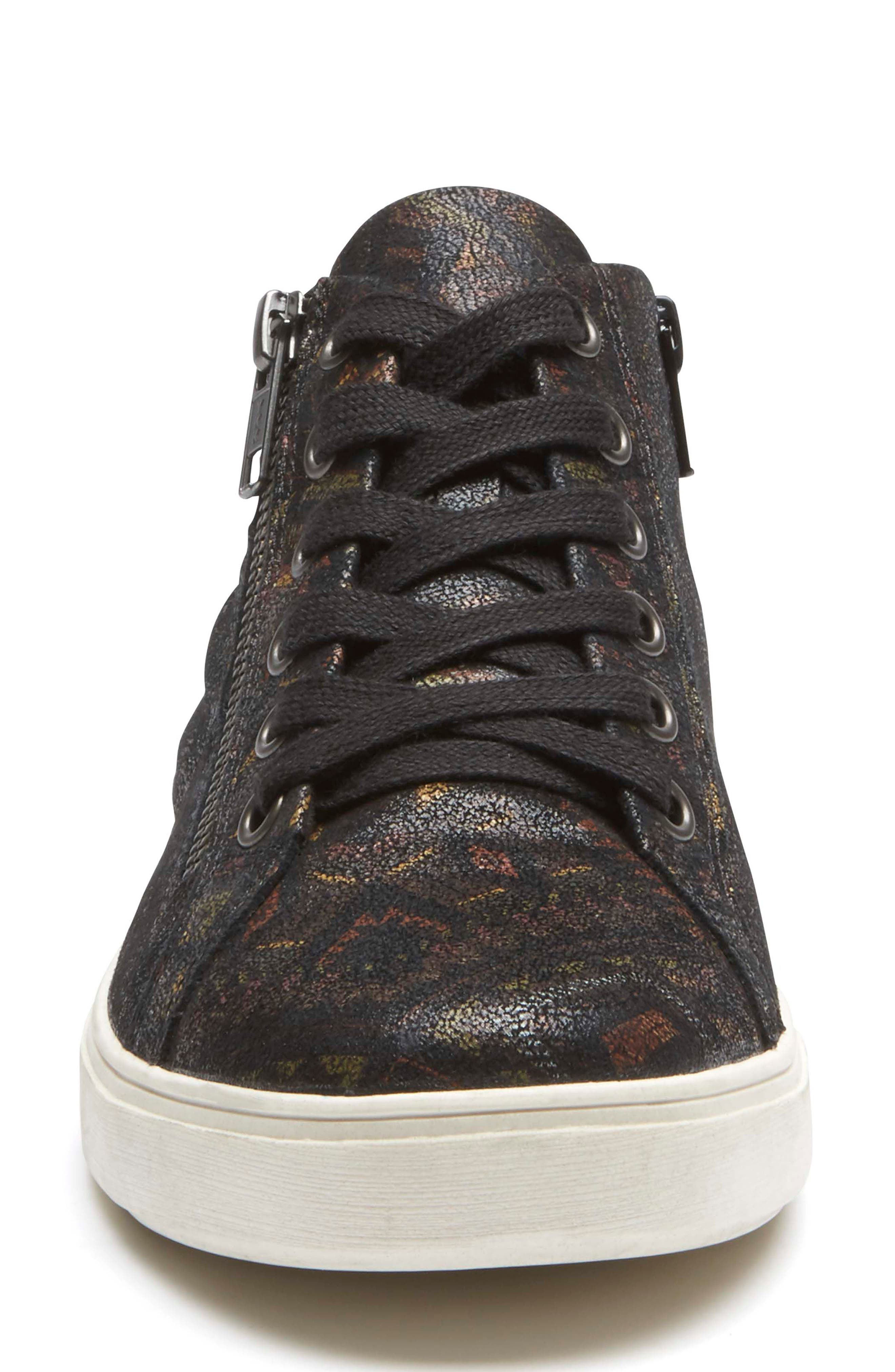 Willa High Top Sneaker,                             Alternate thumbnail 4, color,                             NOVELTY PRINT LEATHER