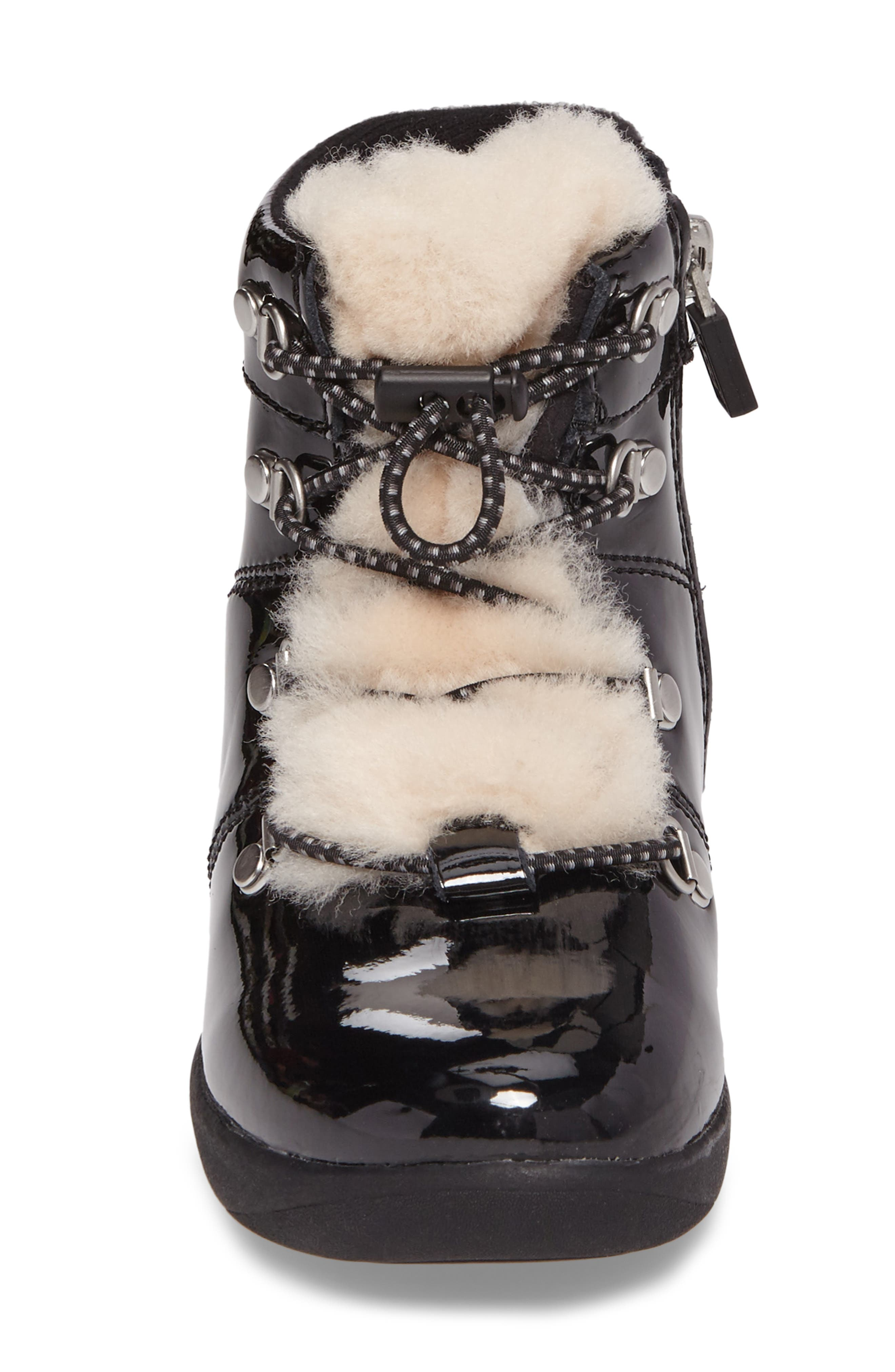 T Ager Genuine Shearling Polished Bootie,                             Alternate thumbnail 4, color,                             BLACK/ BLACK