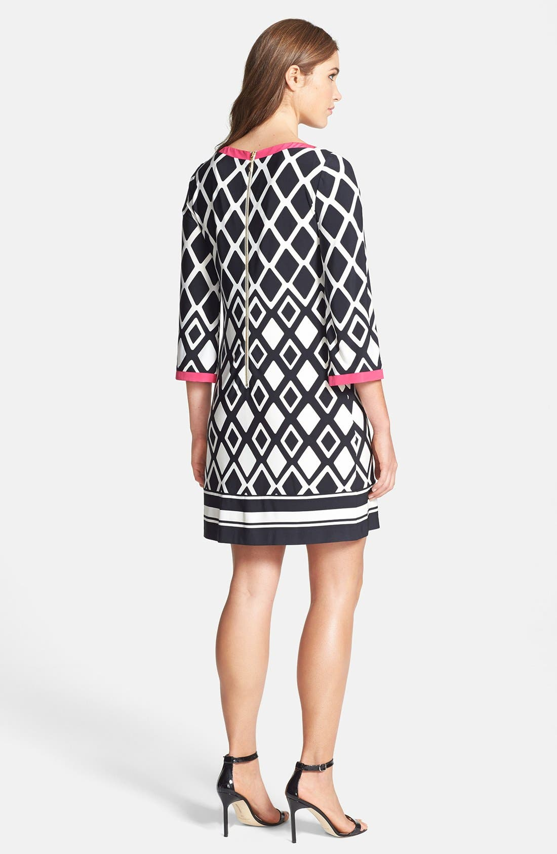 ELIZA J,                             Print Stretch Jersey Shift Dress,                             Alternate thumbnail 4, color,                             001