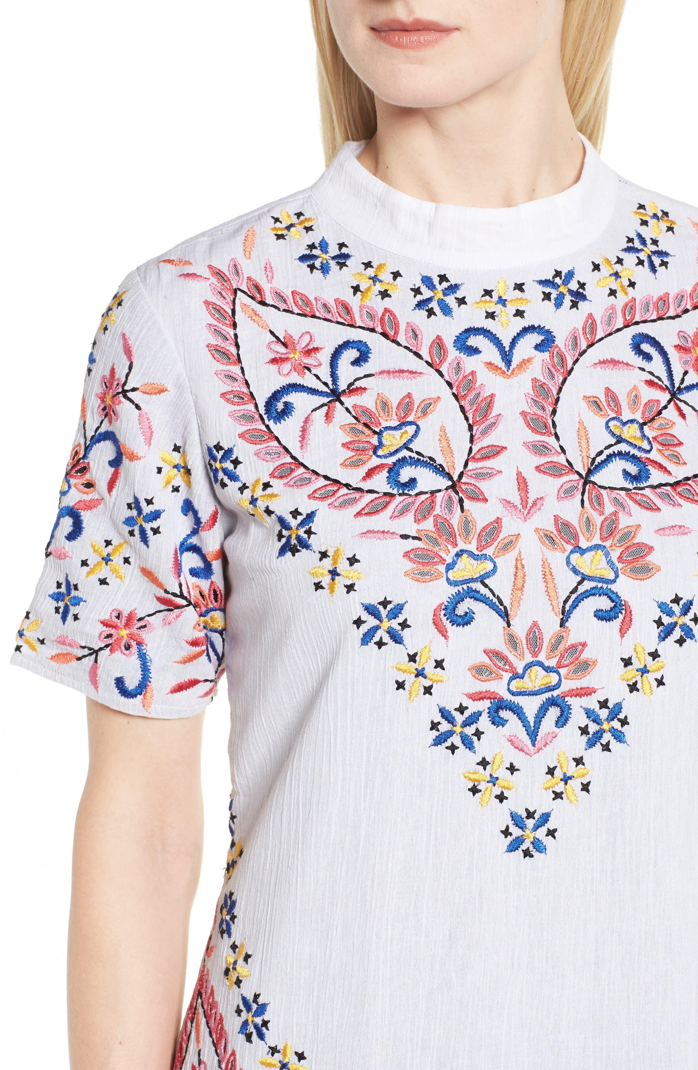 Fleur Embroidered Cotton Minidress,                             Alternate thumbnail 4, color,                             WHITE