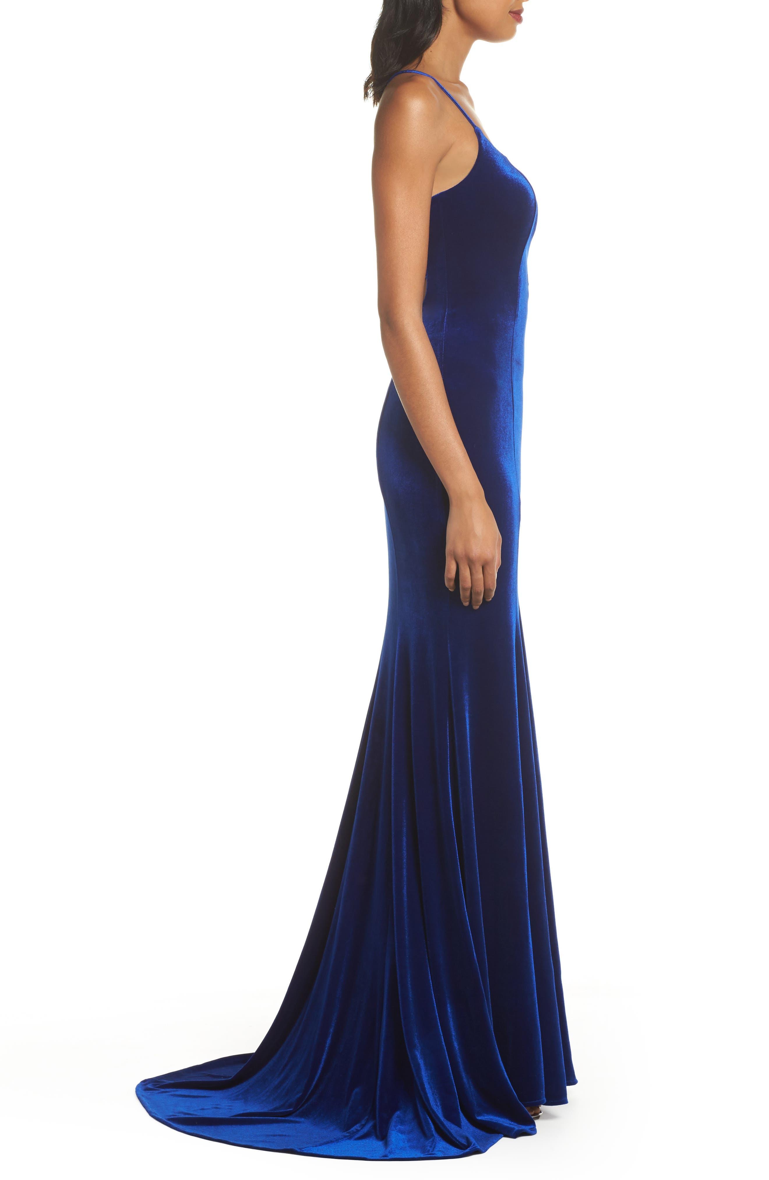 Crisscross Back Velvet Gown,                             Alternate thumbnail 3, color,                             ROYAL BLUE