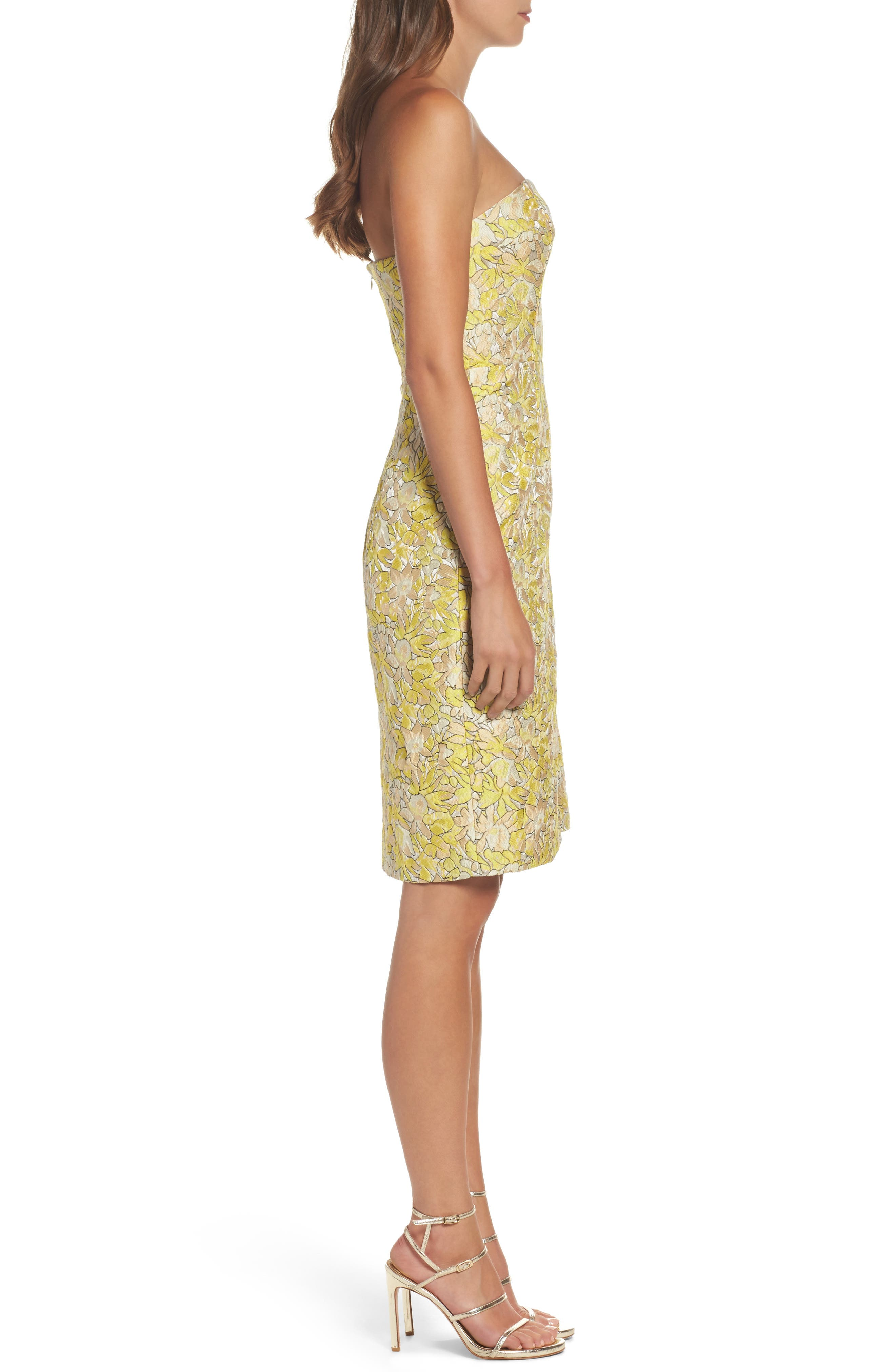 Gretta Strapless Jacquard Sheath Dress,                             Alternate thumbnail 3, color,                             730