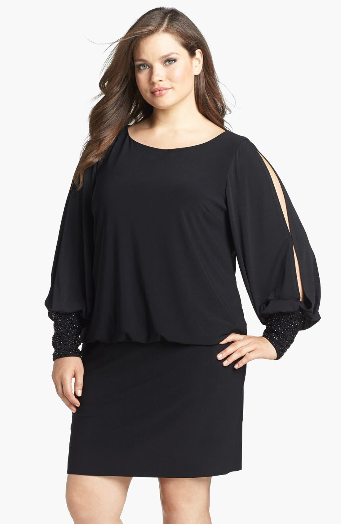 Embellished Cuff Blouson Jersey Dress,                         Main,                         color, BLACK