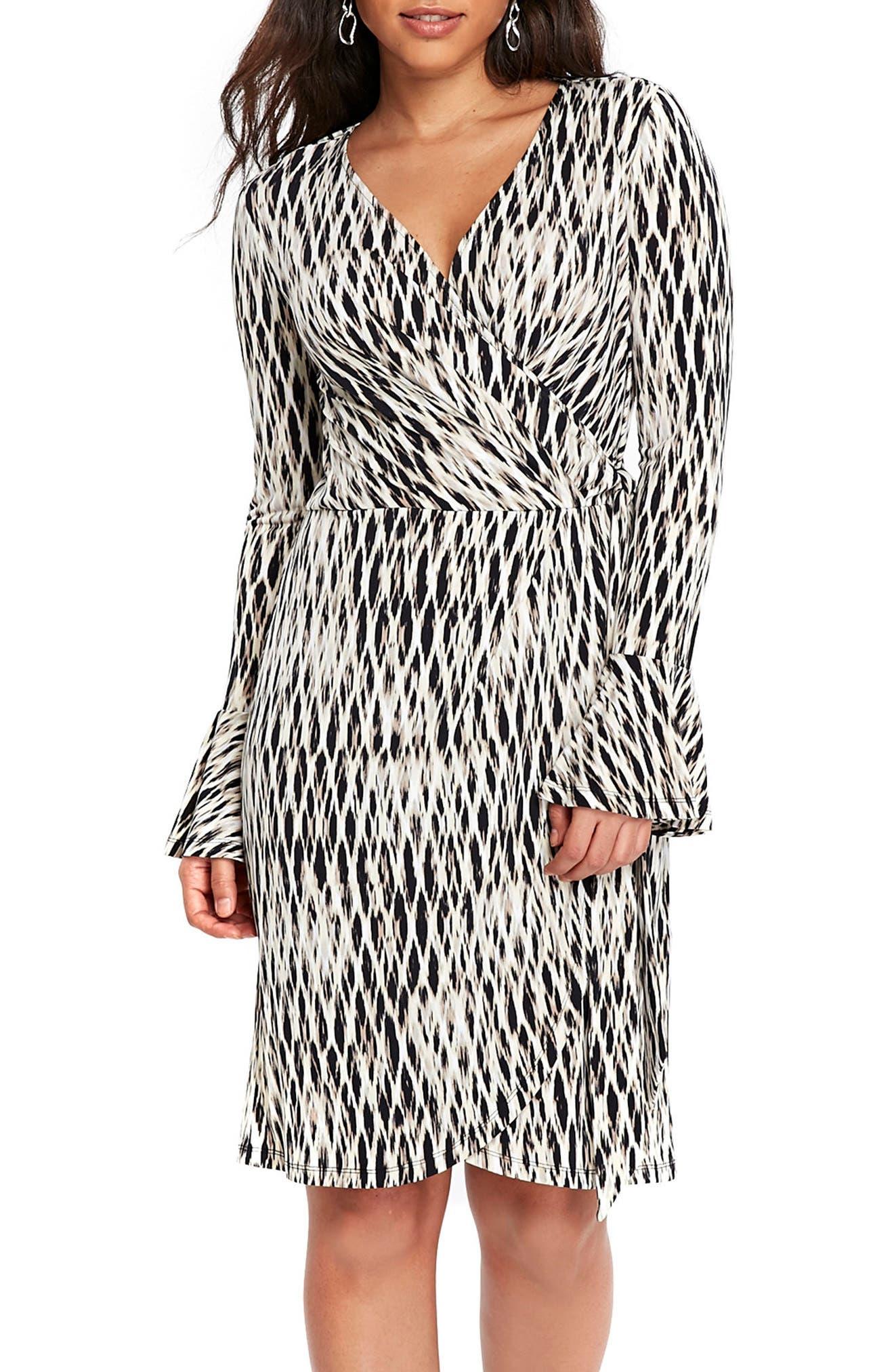 Geo Print Bell Sleeve Wrap Dress,                         Main,                         color, 001