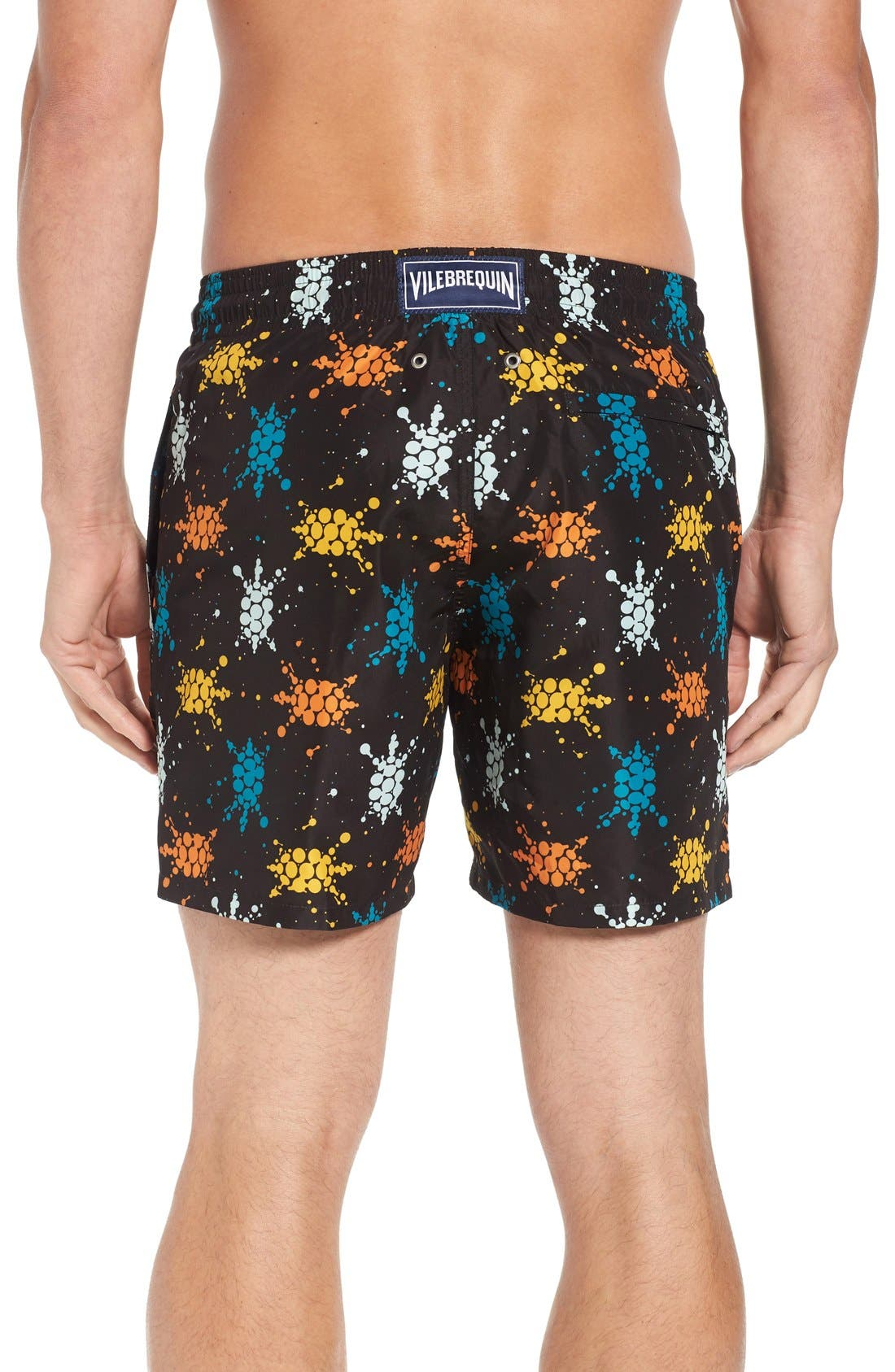 Japan Turtles Print Swim Trunks,                             Alternate thumbnail 2, color,                             BLACK