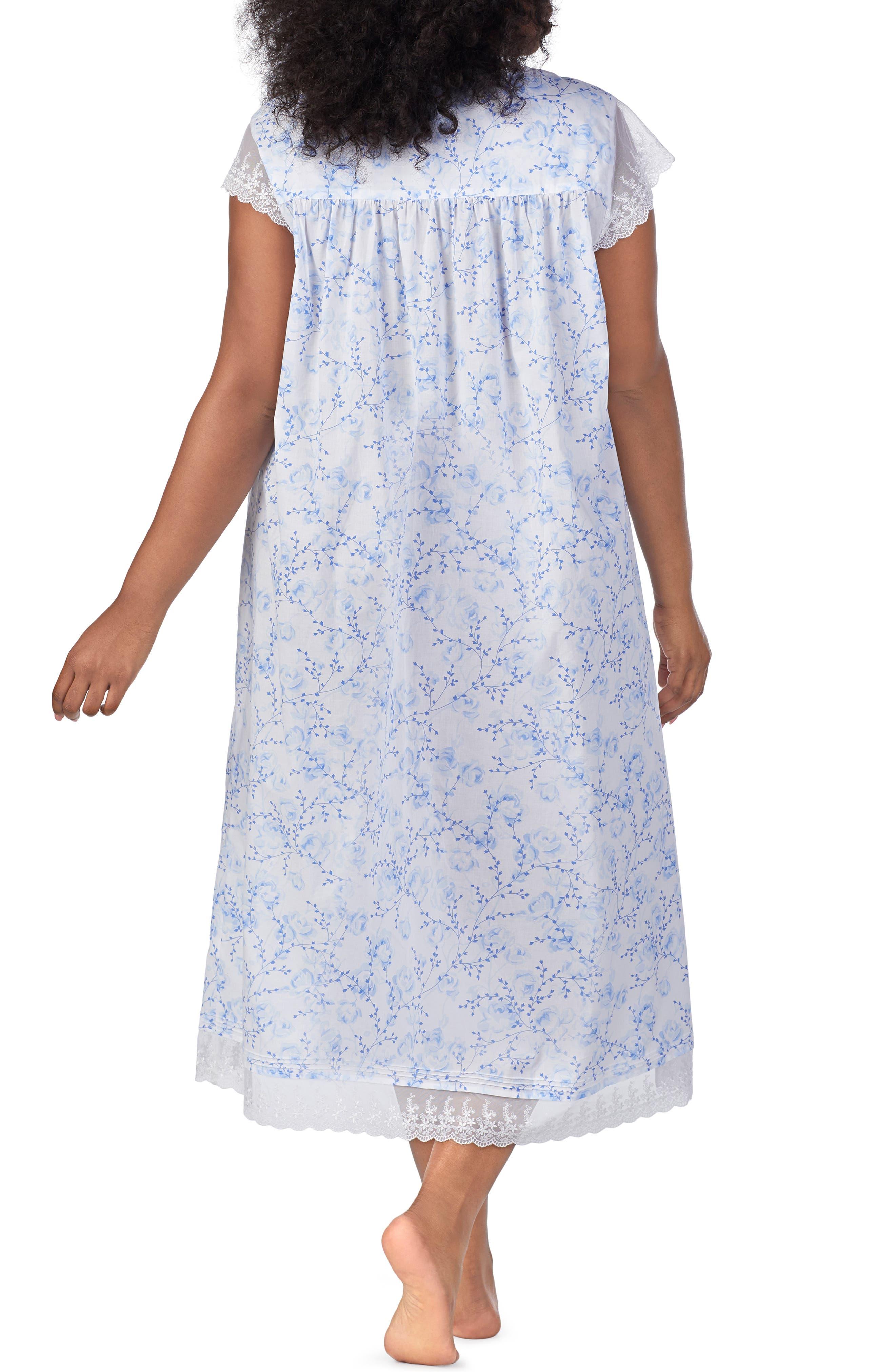 Cotton Lawn Nightgown,                             Alternate thumbnail 2, color,                             BLUE FLORAL