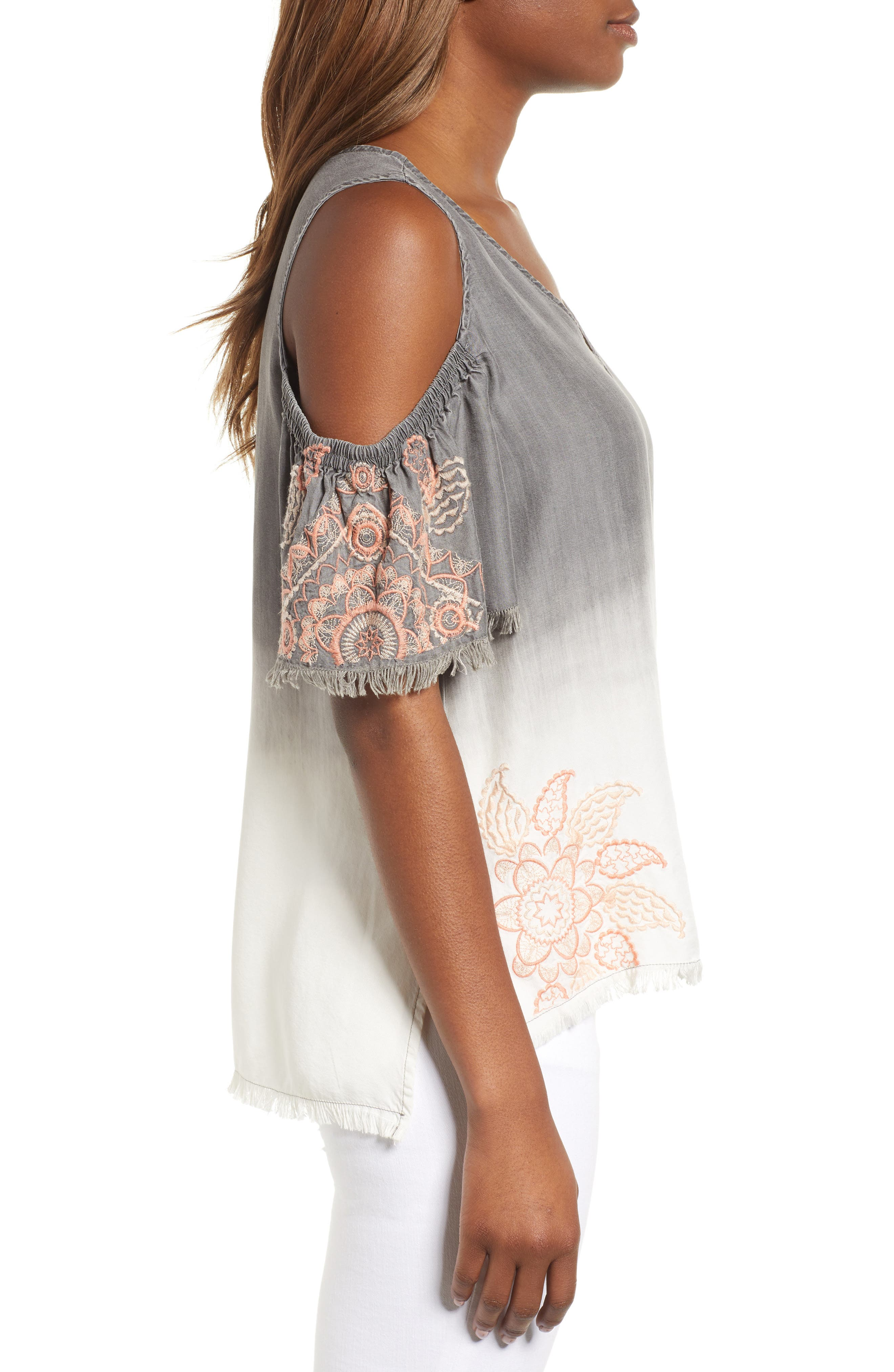 Dip Dye Embroidered Cold Shoulder Blouse,                             Alternate thumbnail 3, color,                             GREY WHITE EMBROIDER