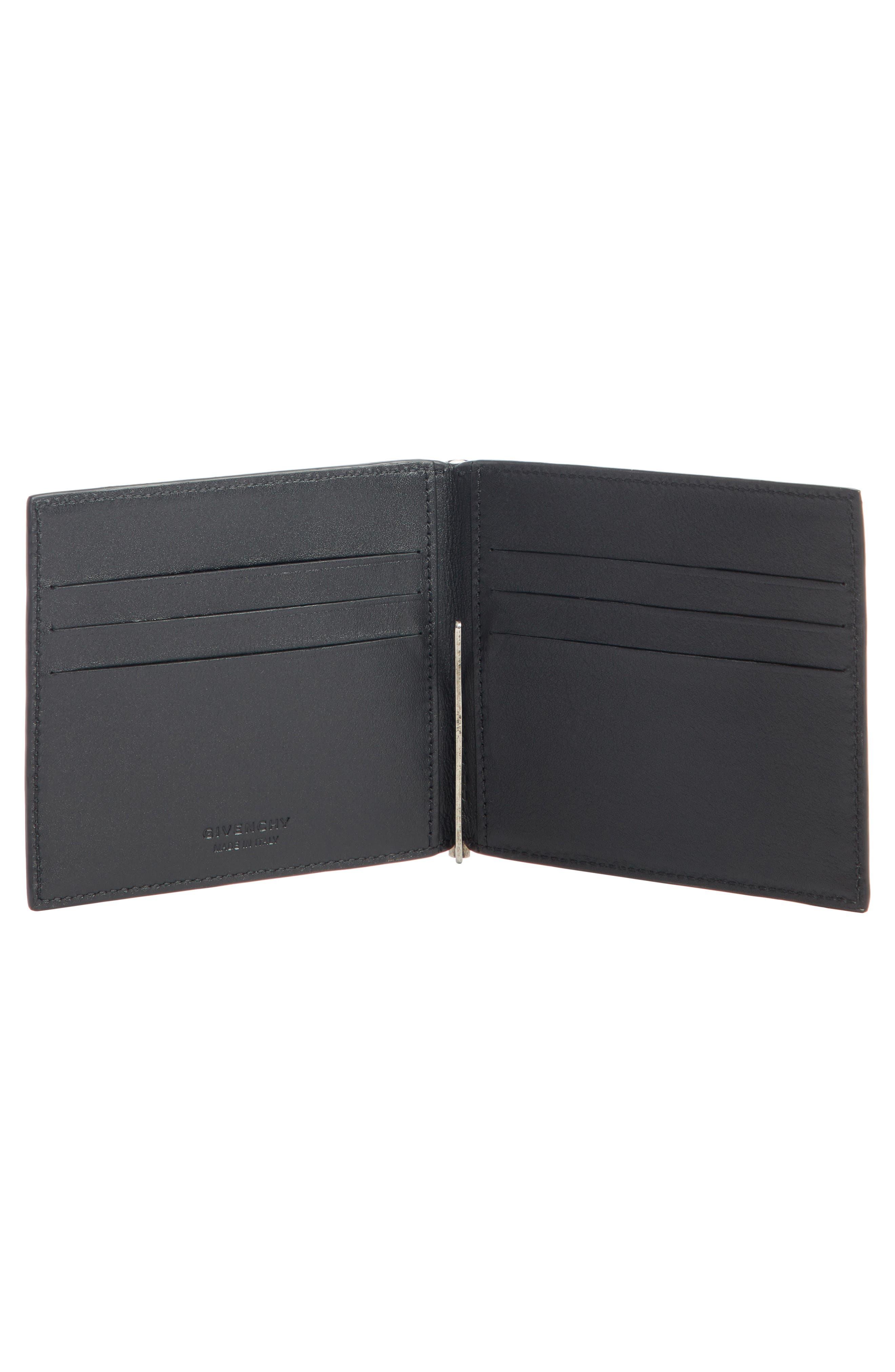 Paris Leather Monery Clip Card Case,                             Alternate thumbnail 2, color,                             BLACK
