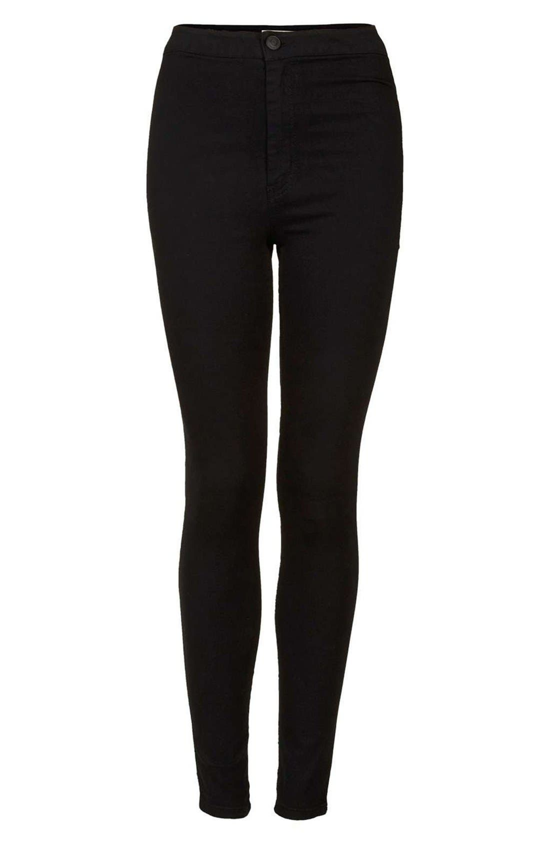 Joni High Waist Skinny Jeans,                             Alternate thumbnail 7, color,                             BLACK
